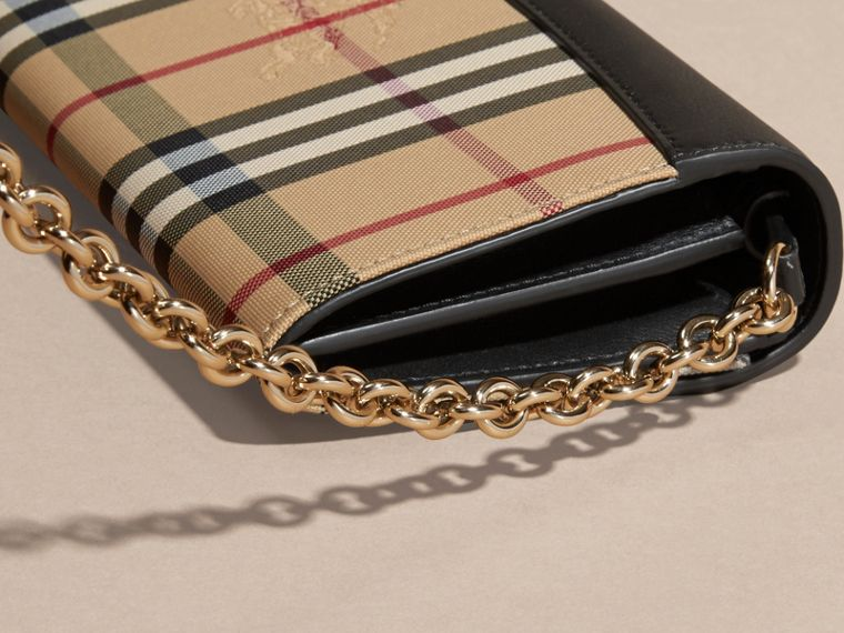 Horseferry Check and Leather Wallet with Chain in Black - Women | Burberry - cell image 1