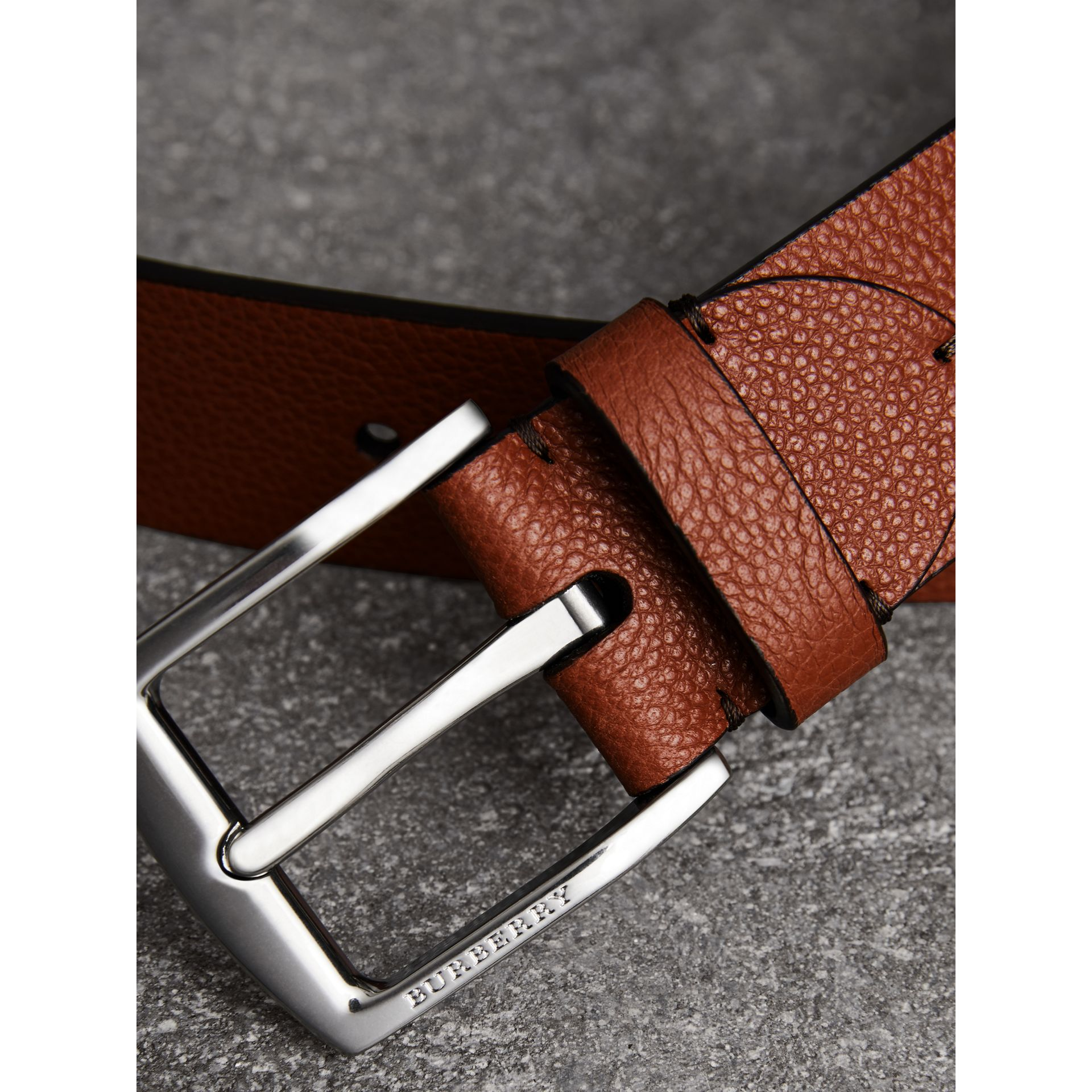 Grainy Leather Belt in Russet Brown - Men | Burberry Australia - gallery image 1