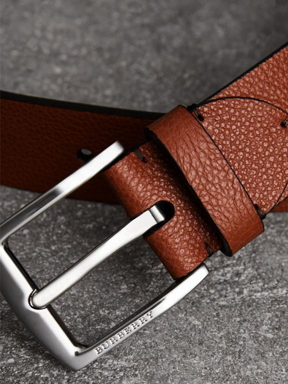 Grainy Leather Belt in Russet Brown - Men | Burberry Australia - cell image 1