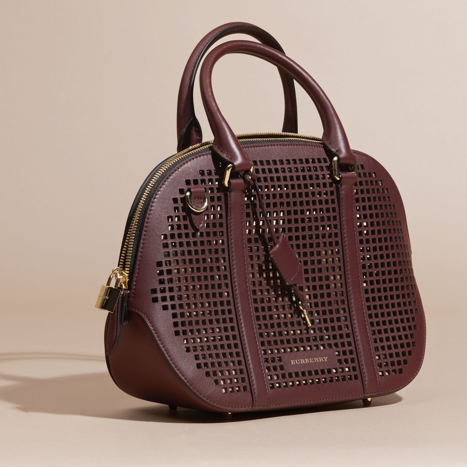 Deep claret The Small Orchard in Laser-cut Leather - gallery image 8