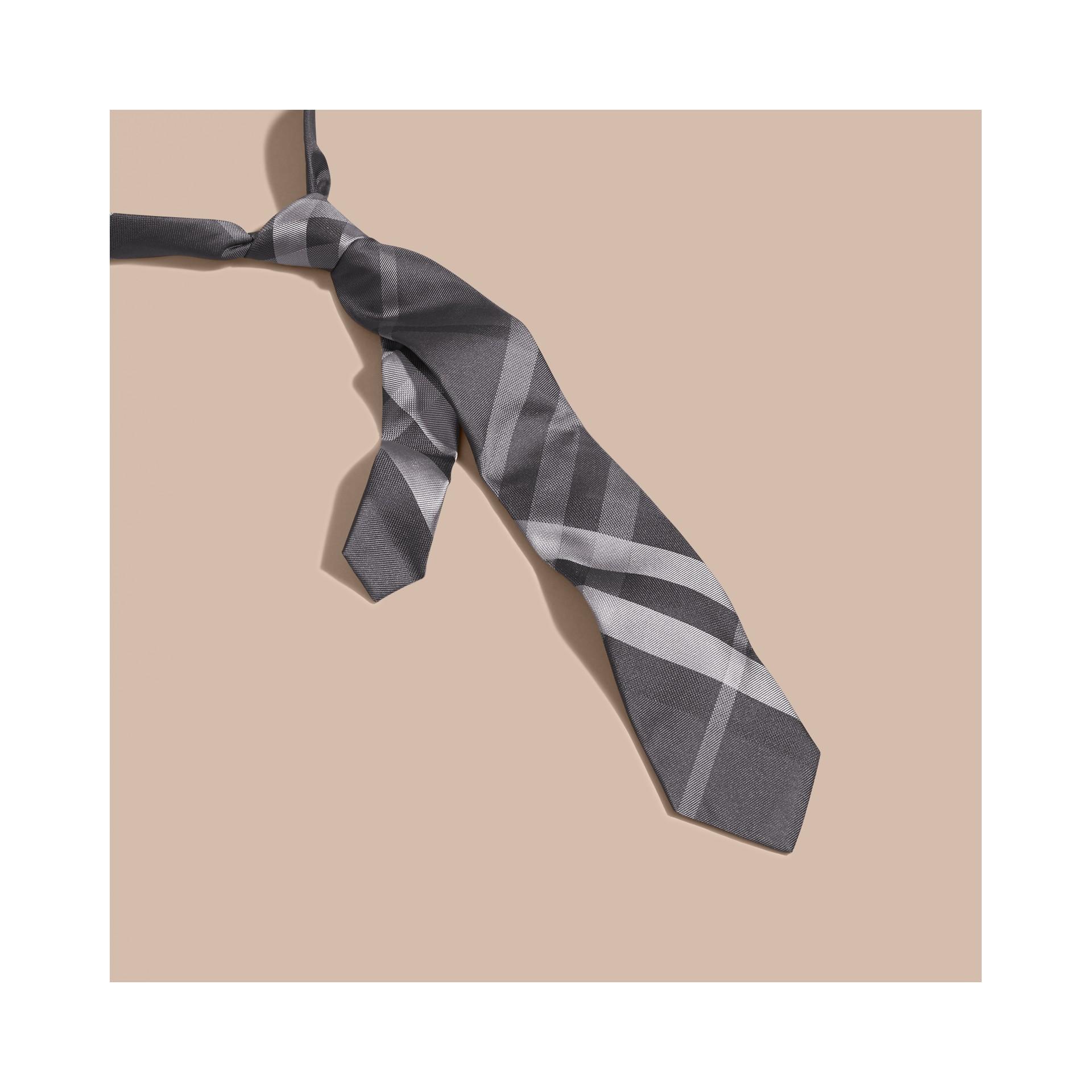 Dark charcoal Modern Cut Beat Check Silk Tie - gallery image 3