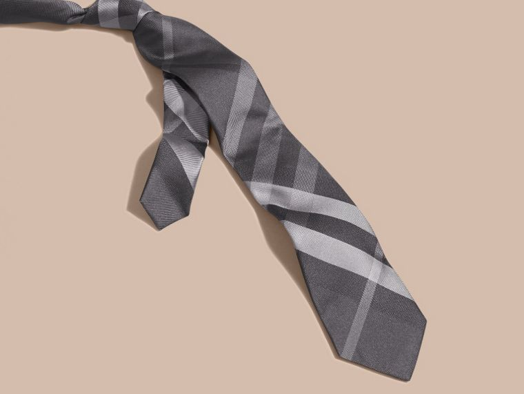 Dark charcoal Modern Cut Beat Check Silk Tie - cell image 2