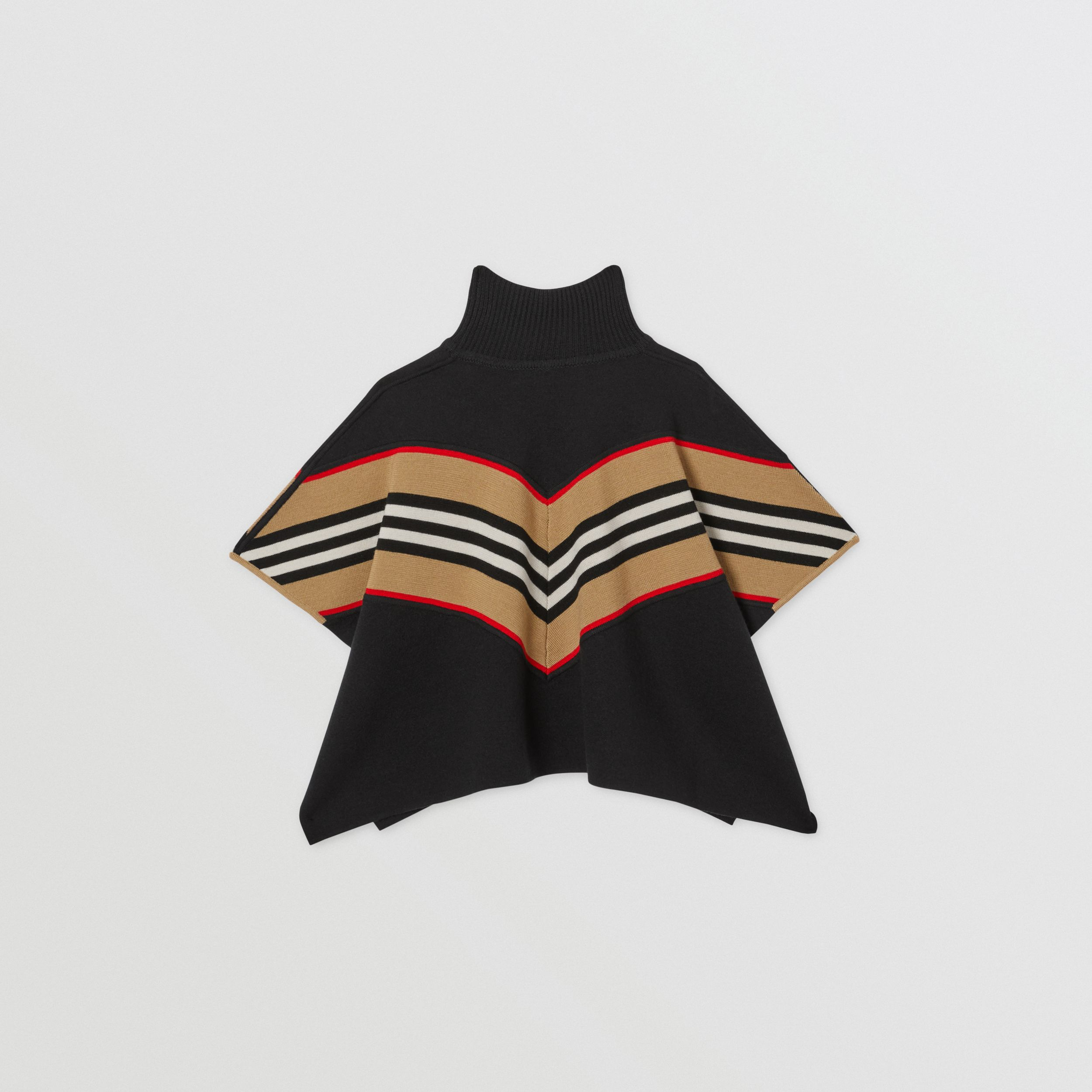 Icon Stripe Panel Wool Cashmere Blend Poncho in Black - Children | Burberry - 4