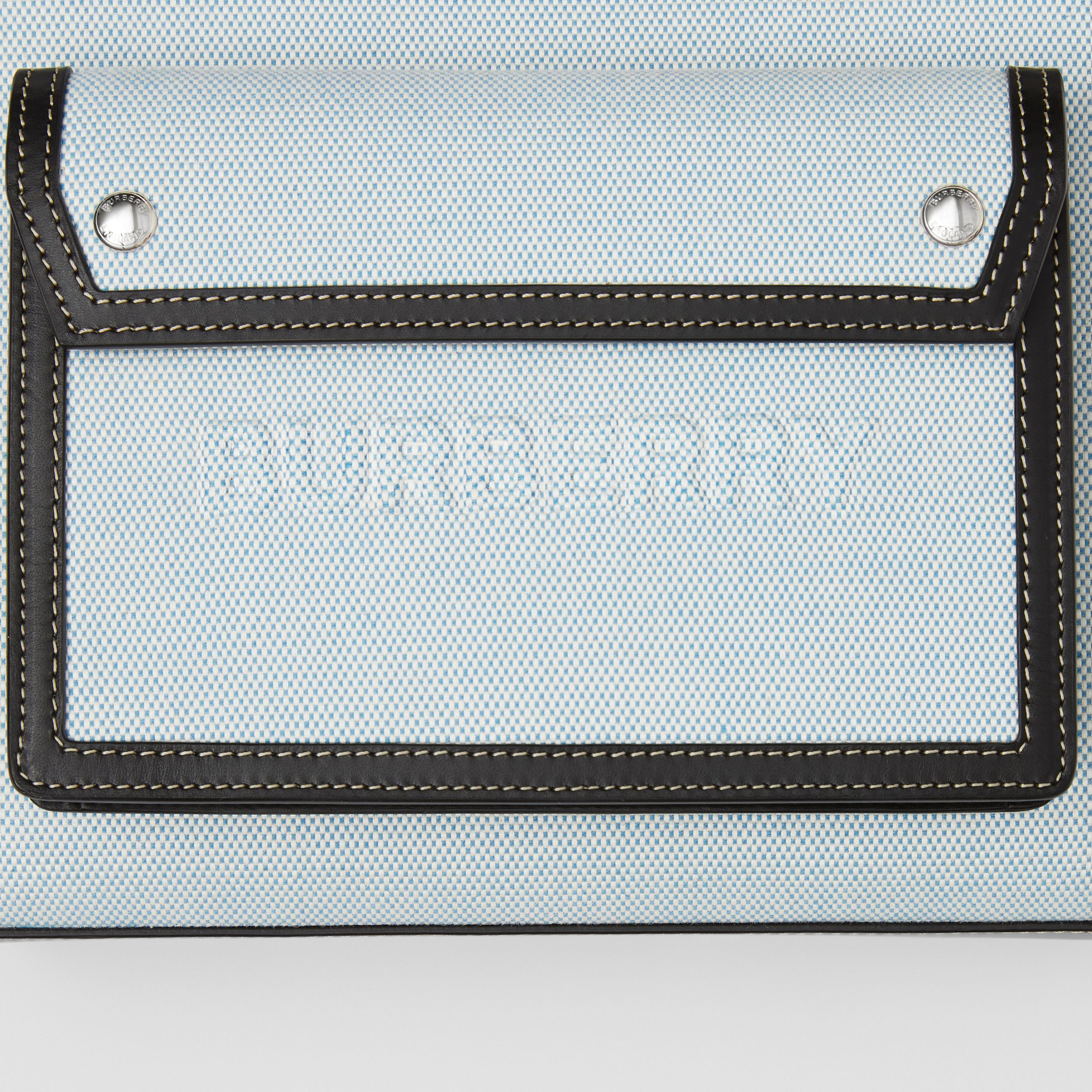 Mini Two-tone Canvas and Leather Pocket Bag in Vivid Cobalt - Women | Burberry - 2