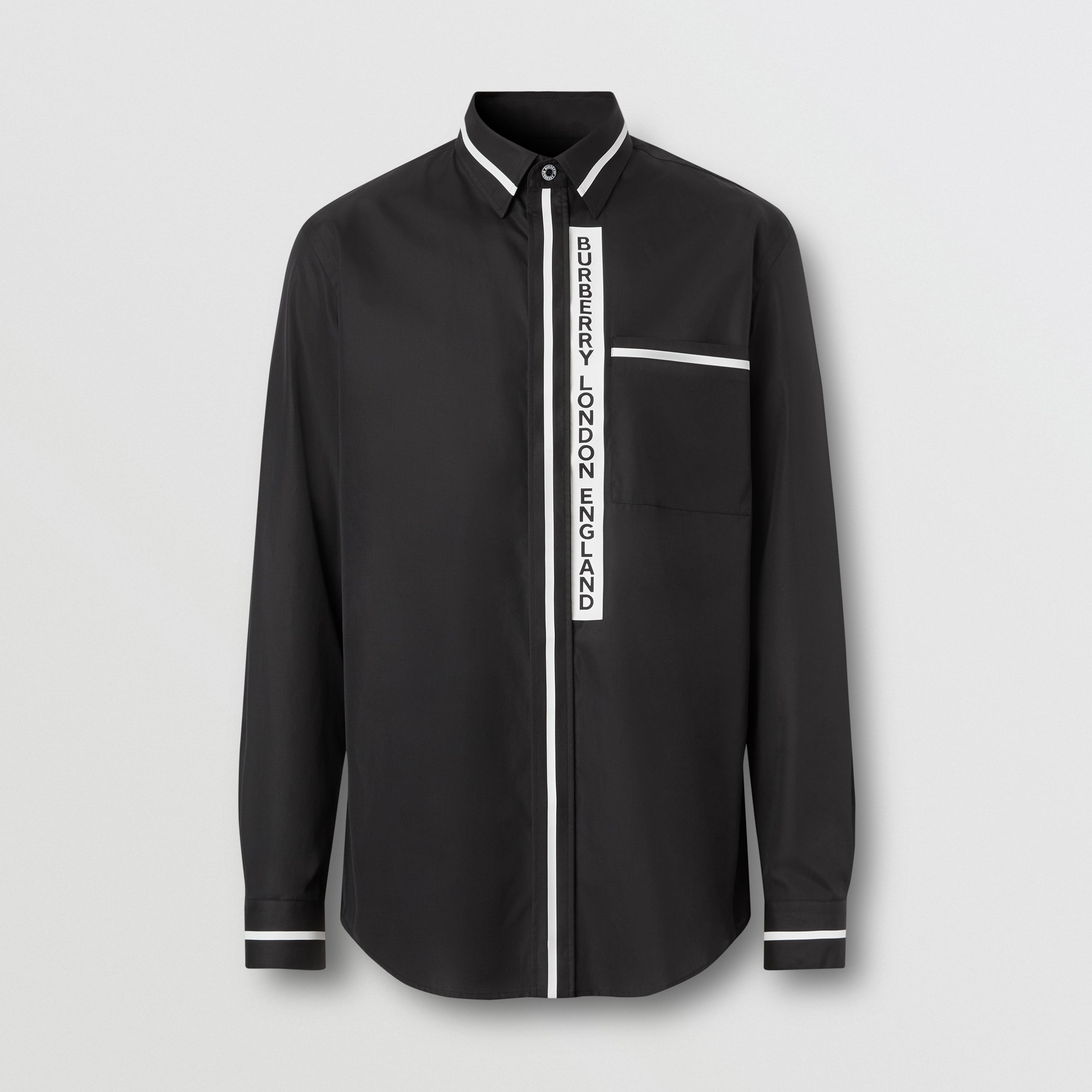 Logo Appliqué Cotton Poplin Shirt in Black - Men | Burberry - 4