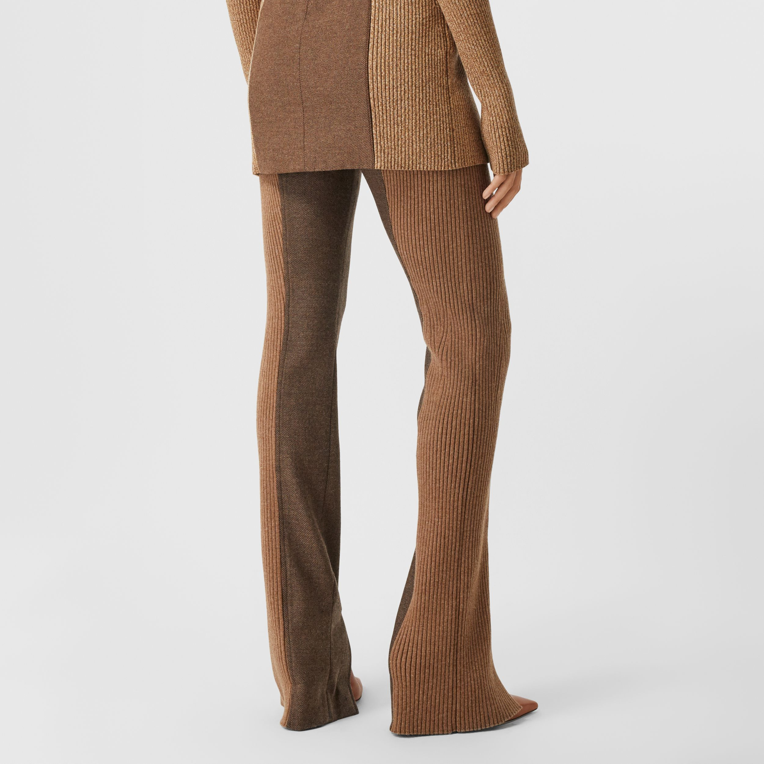 Rib Knit Panel Wool Cashmere Tailored Trousers in Dark Tan - Women | Burberry Canada - 3