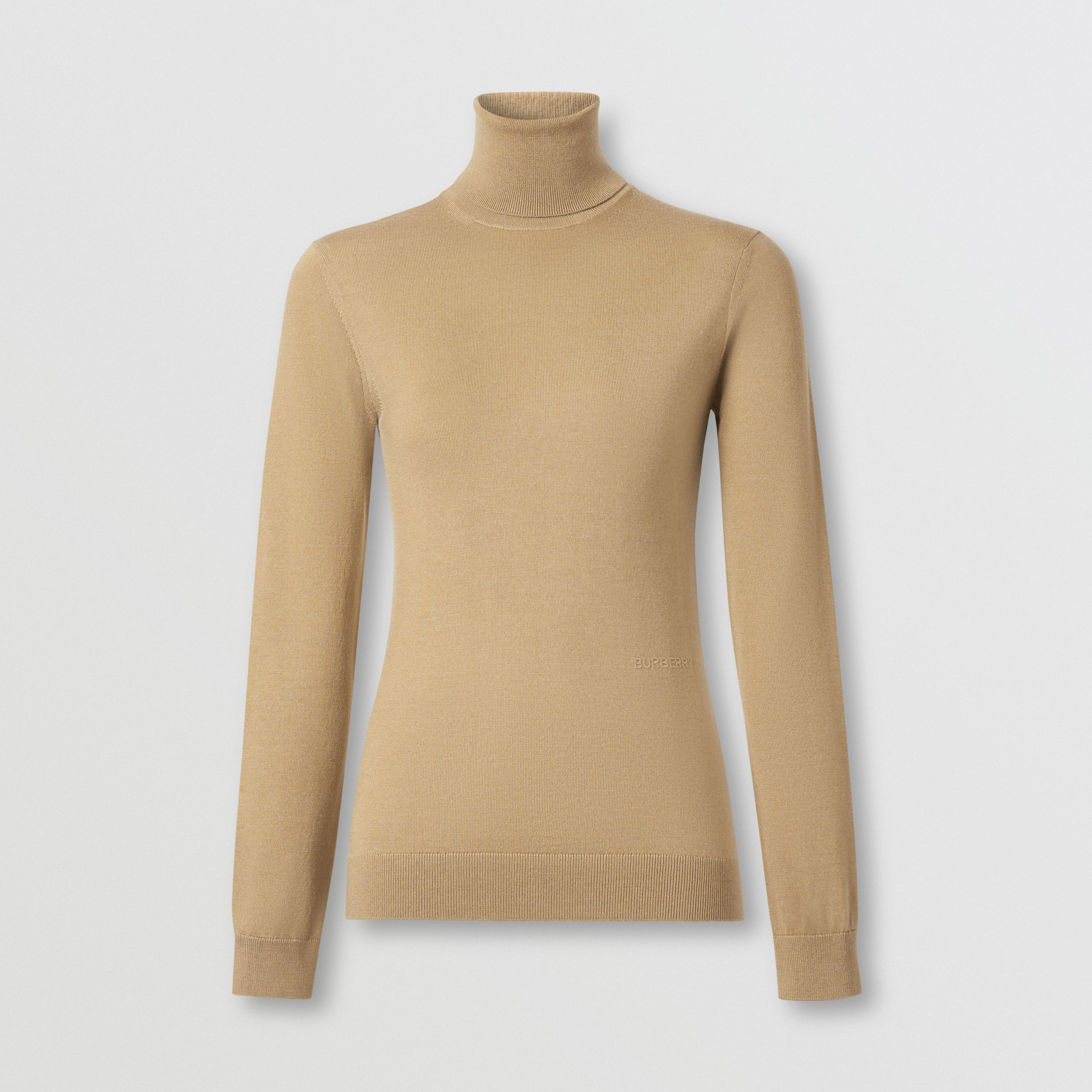 Two-tone Merino Wool Silk Roll-neck Sweater in Camel - Women | Burberry - 4