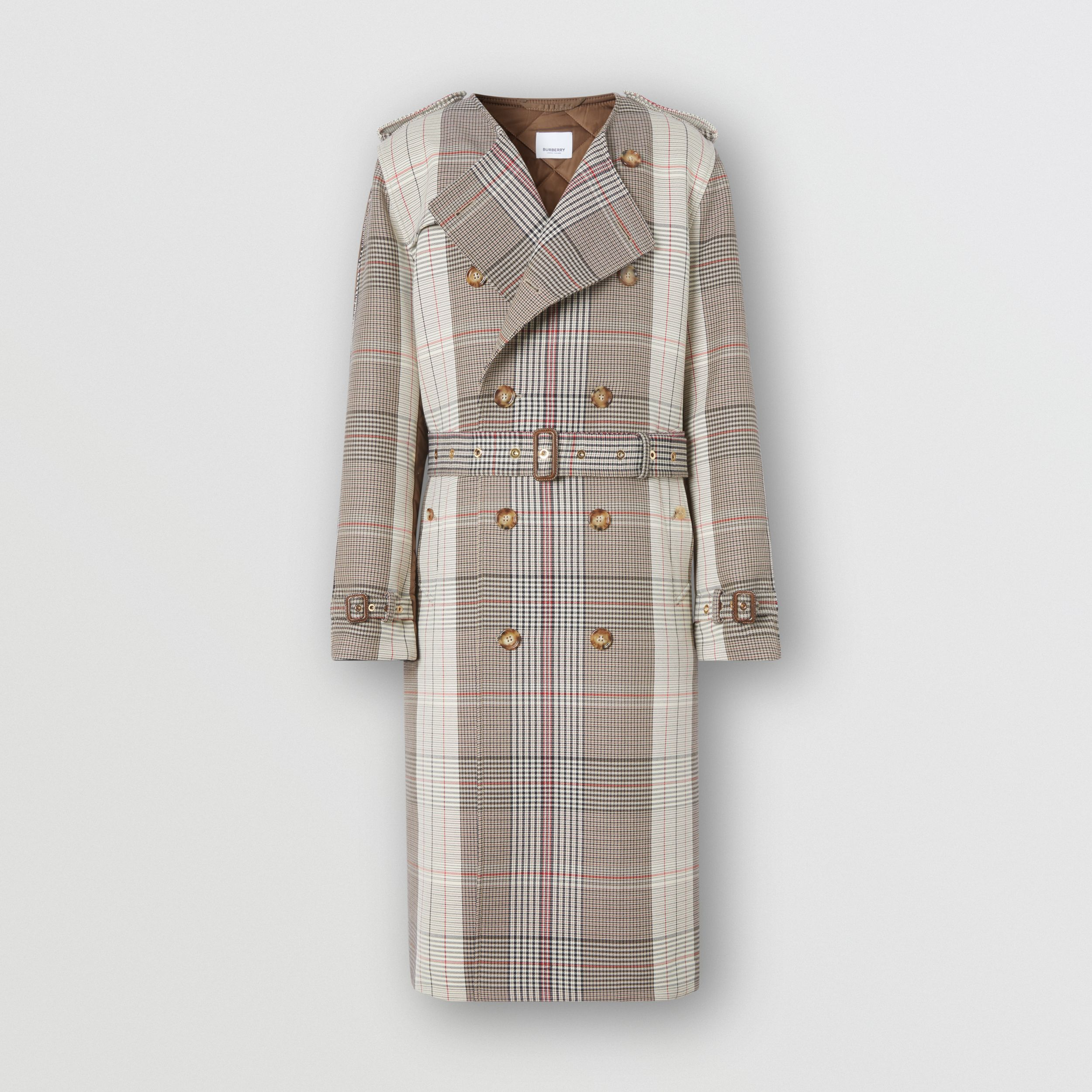 Quilted Panel Check Wool Cotton Trench Coat in Beige | Burberry - 4