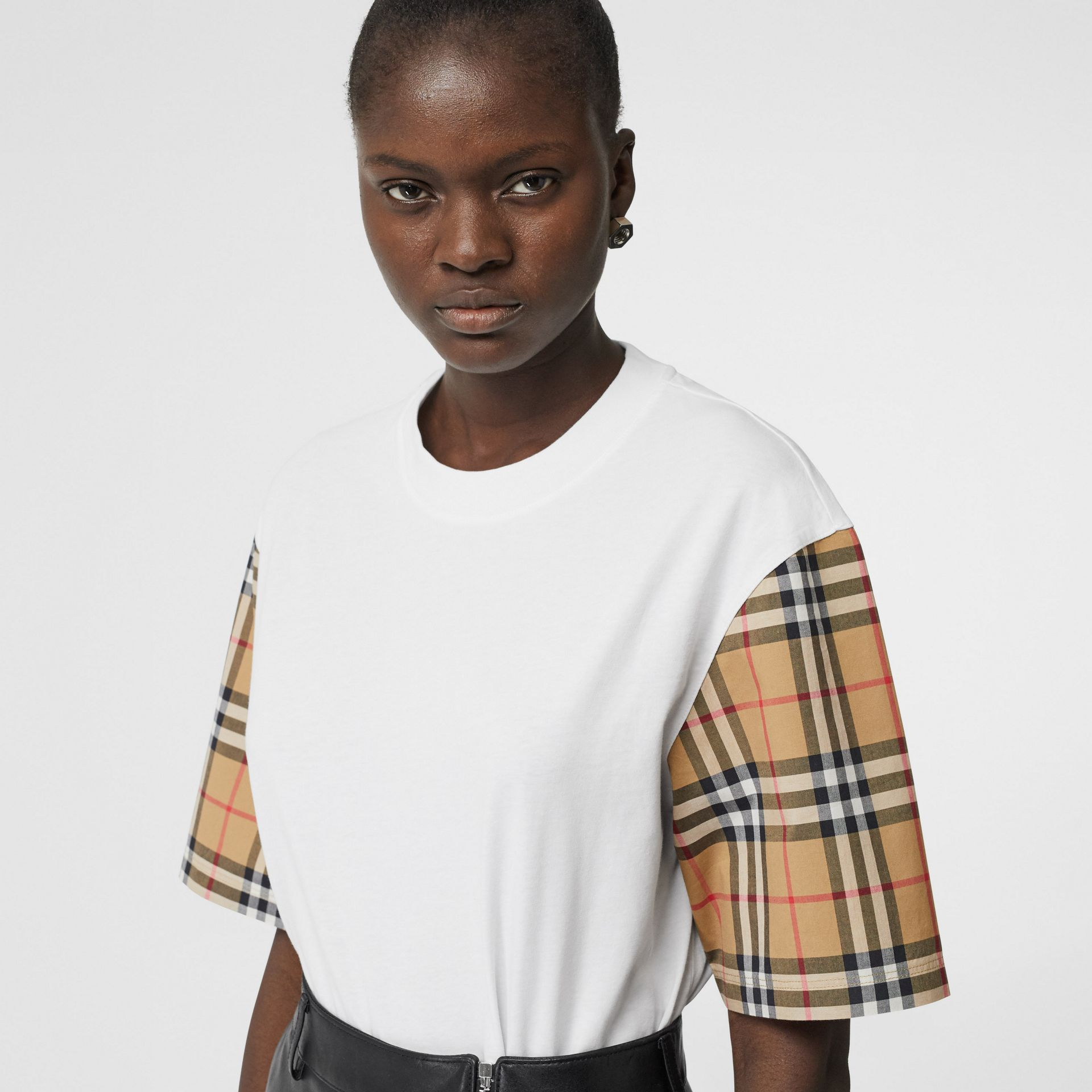 Vintage Check Detail Cotton T-shirt in White - Women | Burberry - gallery image 1