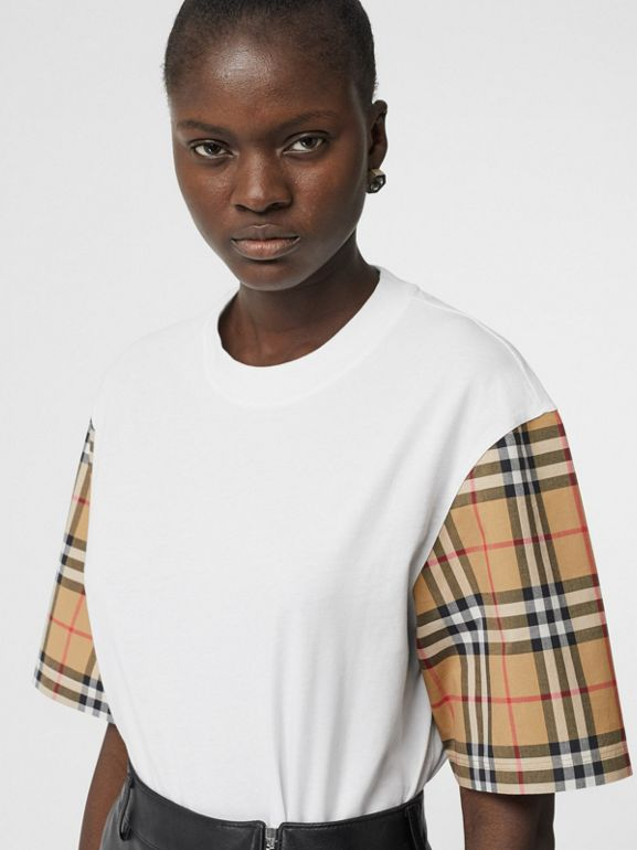 Vintage Check Detail Cotton T-shirt in White - Women | Burberry - cell image 1