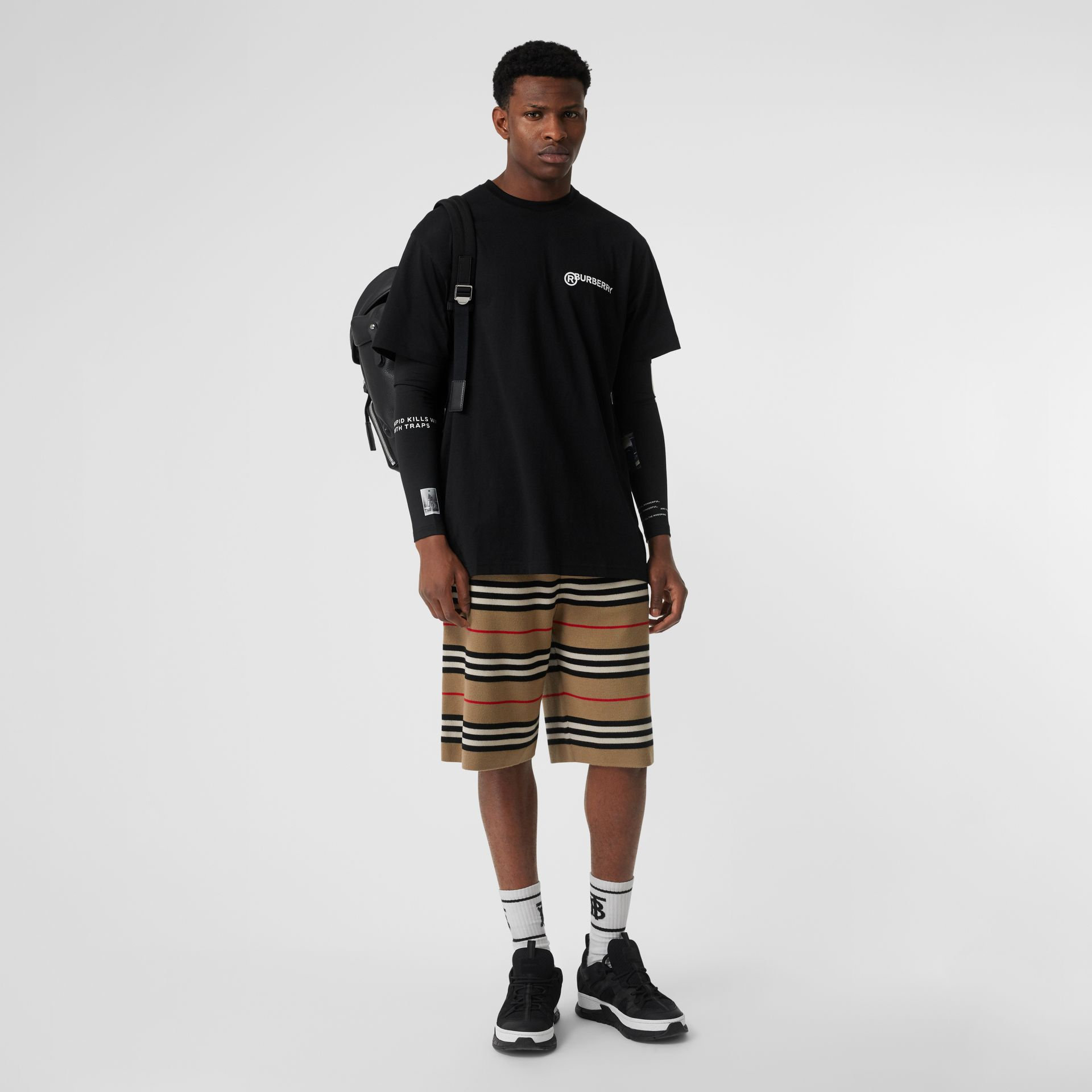 Logo Print Cotton Oversized T-shirt in Black - Men | Burberry Canada - gallery image 0