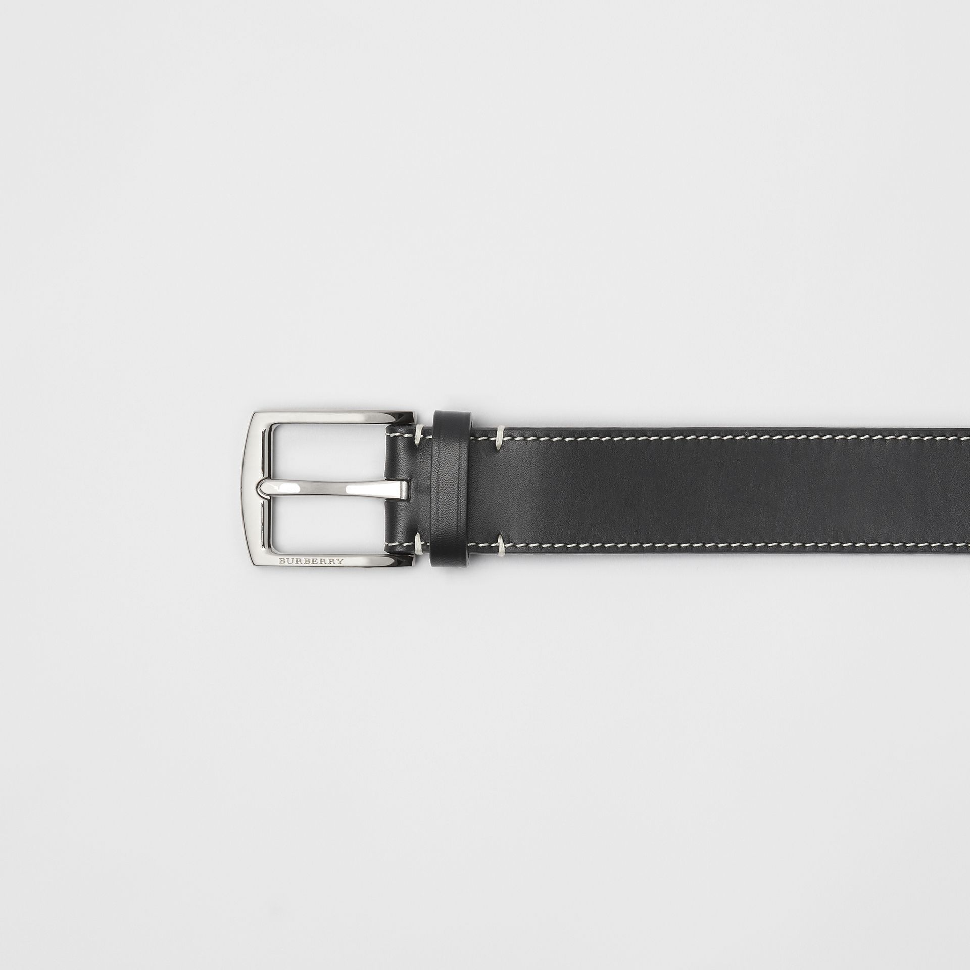 Topstitched Leather Belt in Black - Men | Burberry - gallery image 1