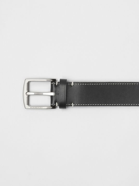 Topstitched Leather Belt in Black - Men | Burberry United Kingdom - cell image 1