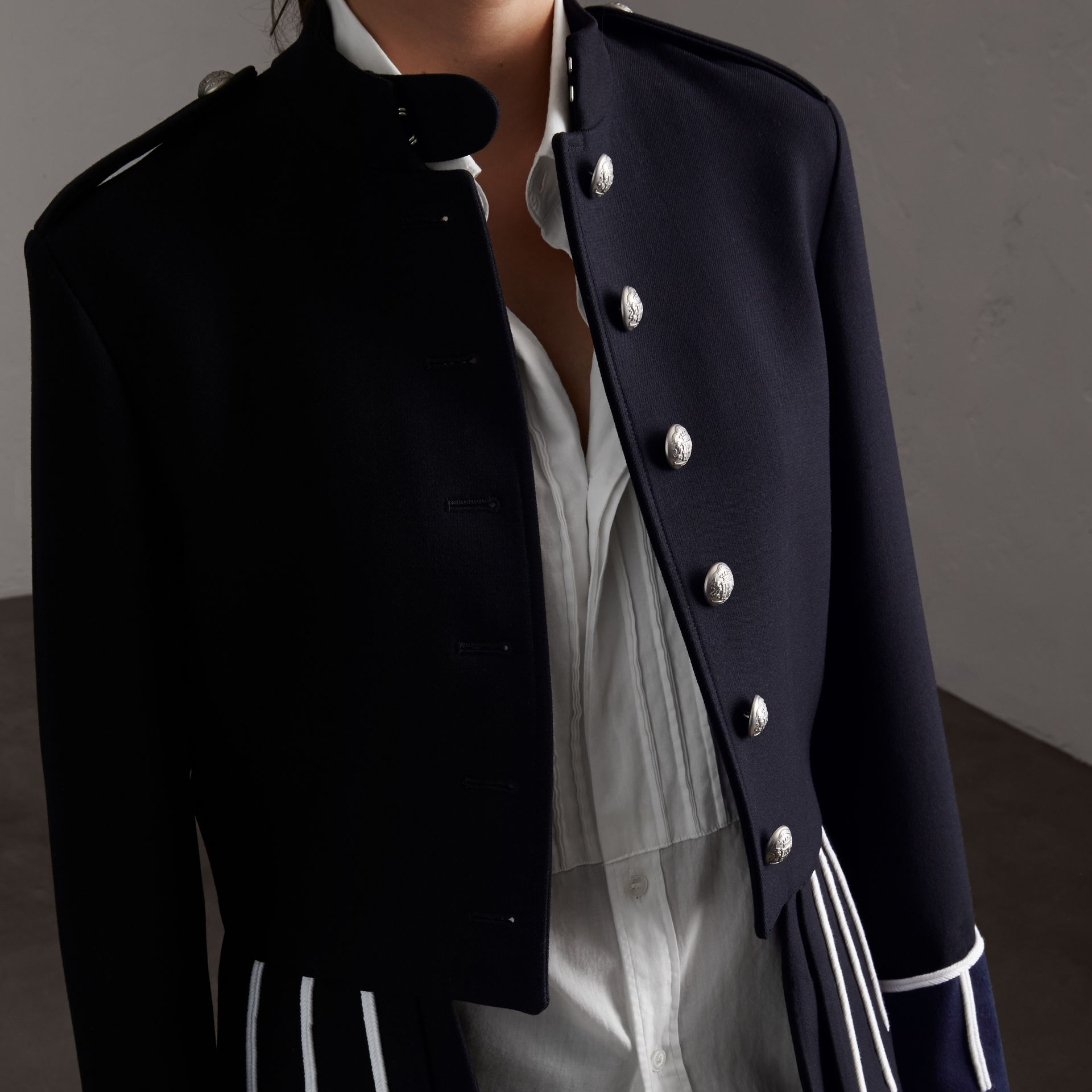Cord Detail Wool Military Jacket in Navy - Women | Burberry - gallery image 6
