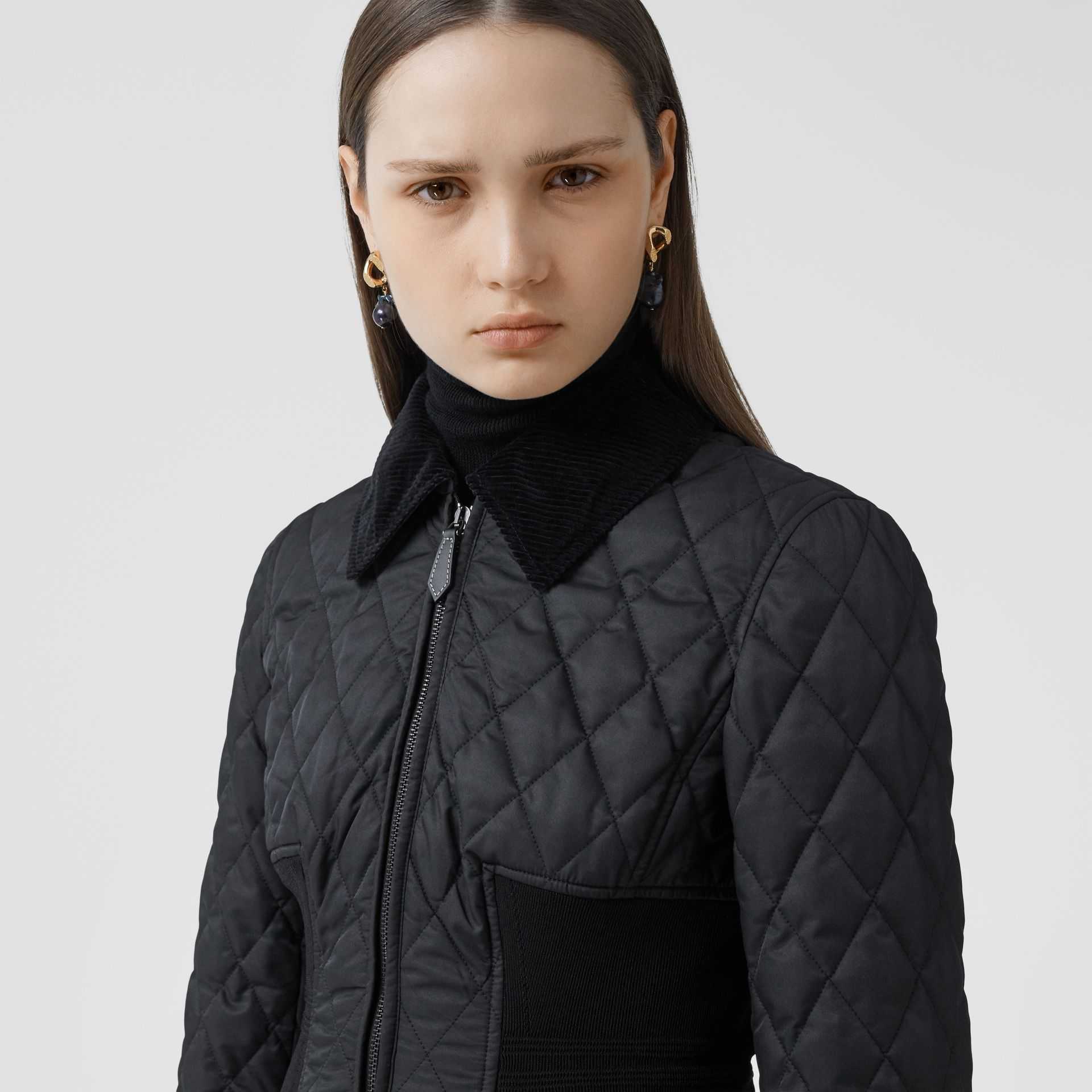 Rib Knit Panel Diamond Quilted Barn Jacket in Black - Women | Burberry United Kingdom - gallery image 1