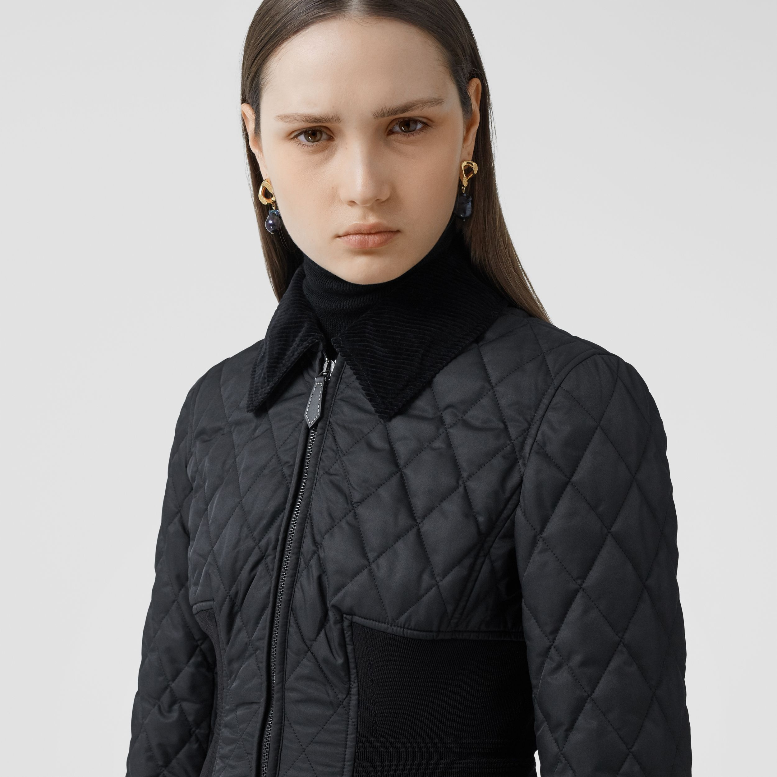 Rib Knit Panel Diamond Quilted Barn Jacket in Black - Women | Burberry - 2