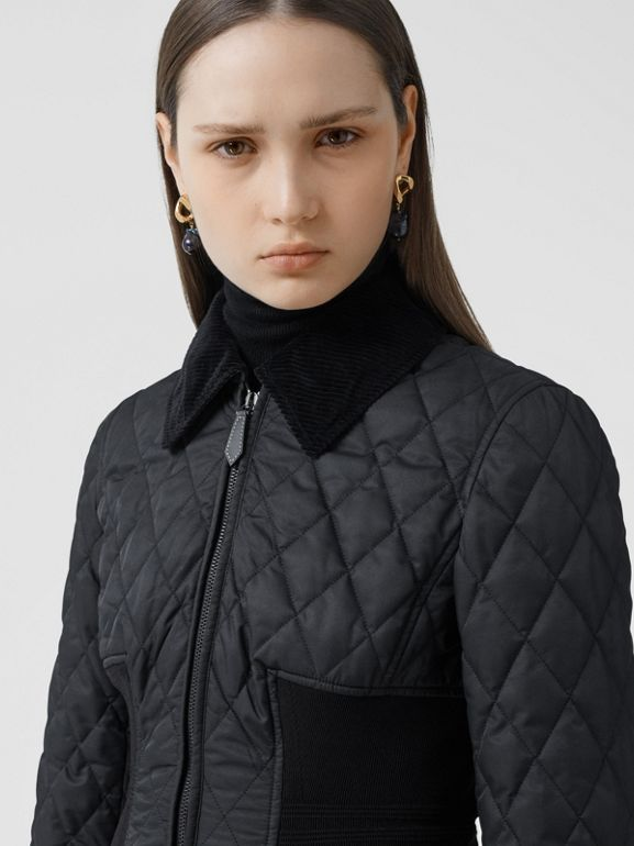 Rib Knit Panel Diamond Quilted Barn Jacket in Black - Women | Burberry United Kingdom - cell image 1
