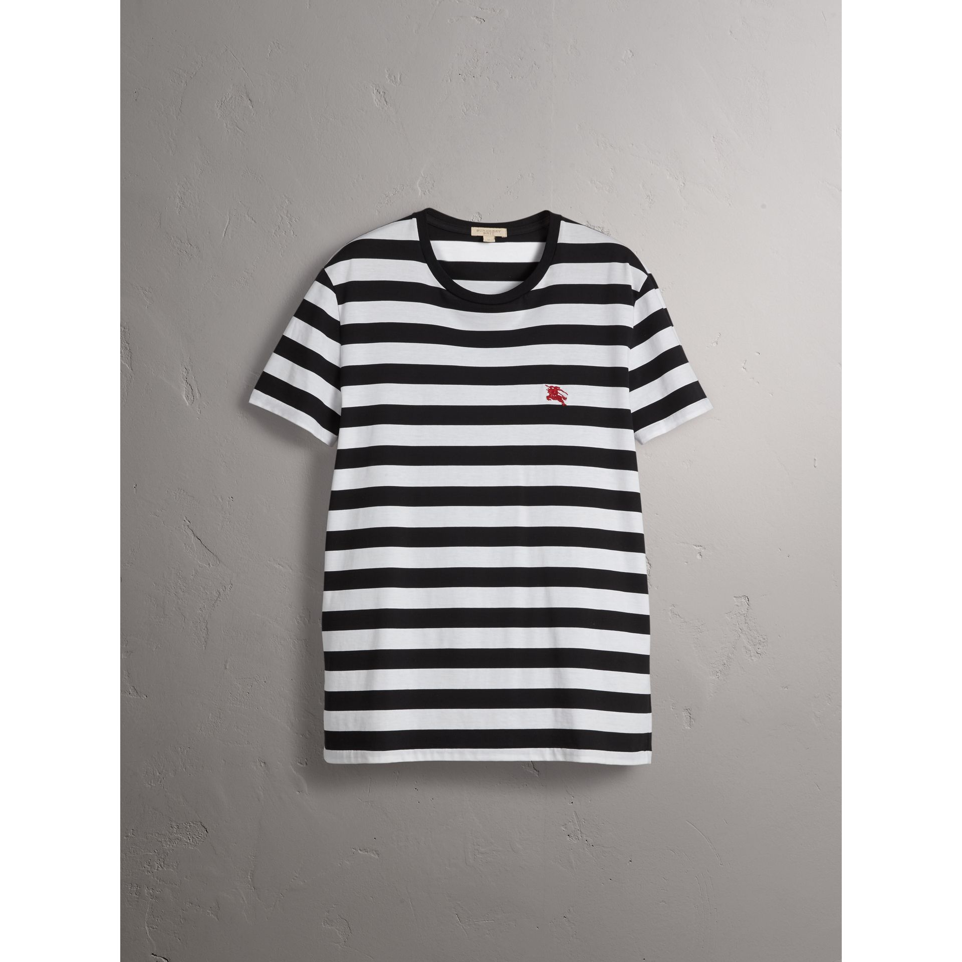 Striped Cotton T-Shirt in Black/white - Men | Burberry - gallery image 4