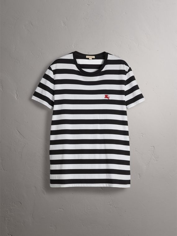 Striped Cotton T-Shirt in Black/white - Men | Burberry - cell image 3