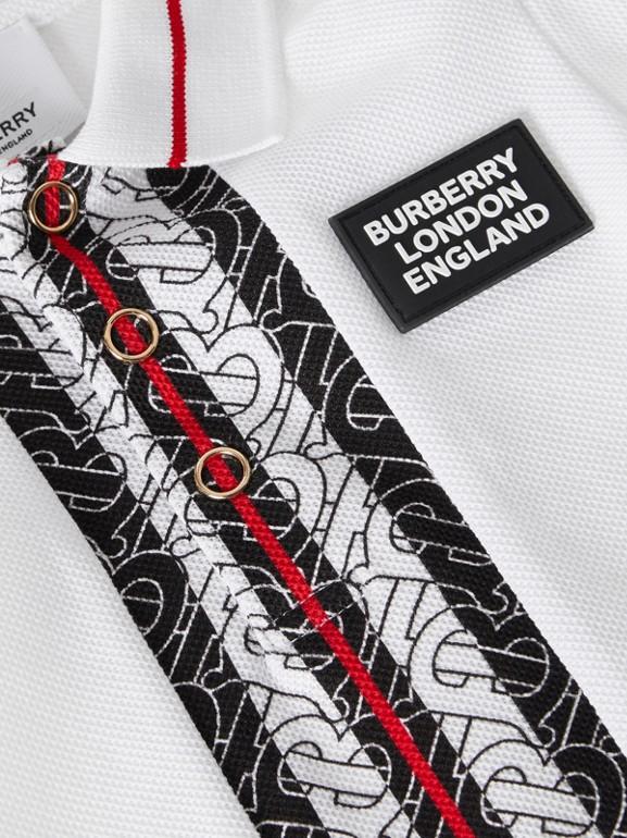 Monogram Stripe Cotton Piqué Polo Shirt in White - Children   Burberry - cell image 1