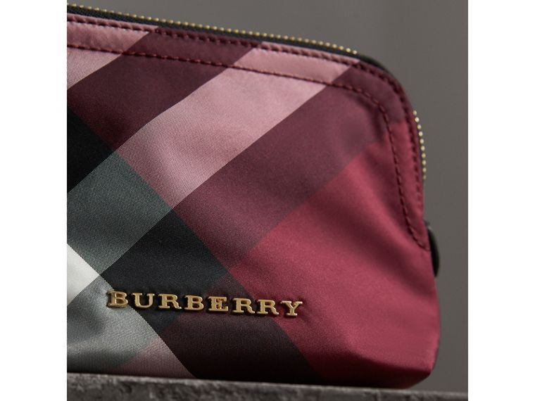 Small Zip-top Check Pouch in Plum - Women | Burberry - cell image 1