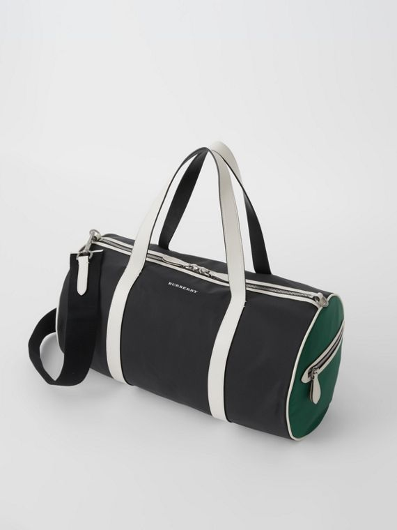 Medium Tri-tone Nylon and Leather Barrel Bag in Black