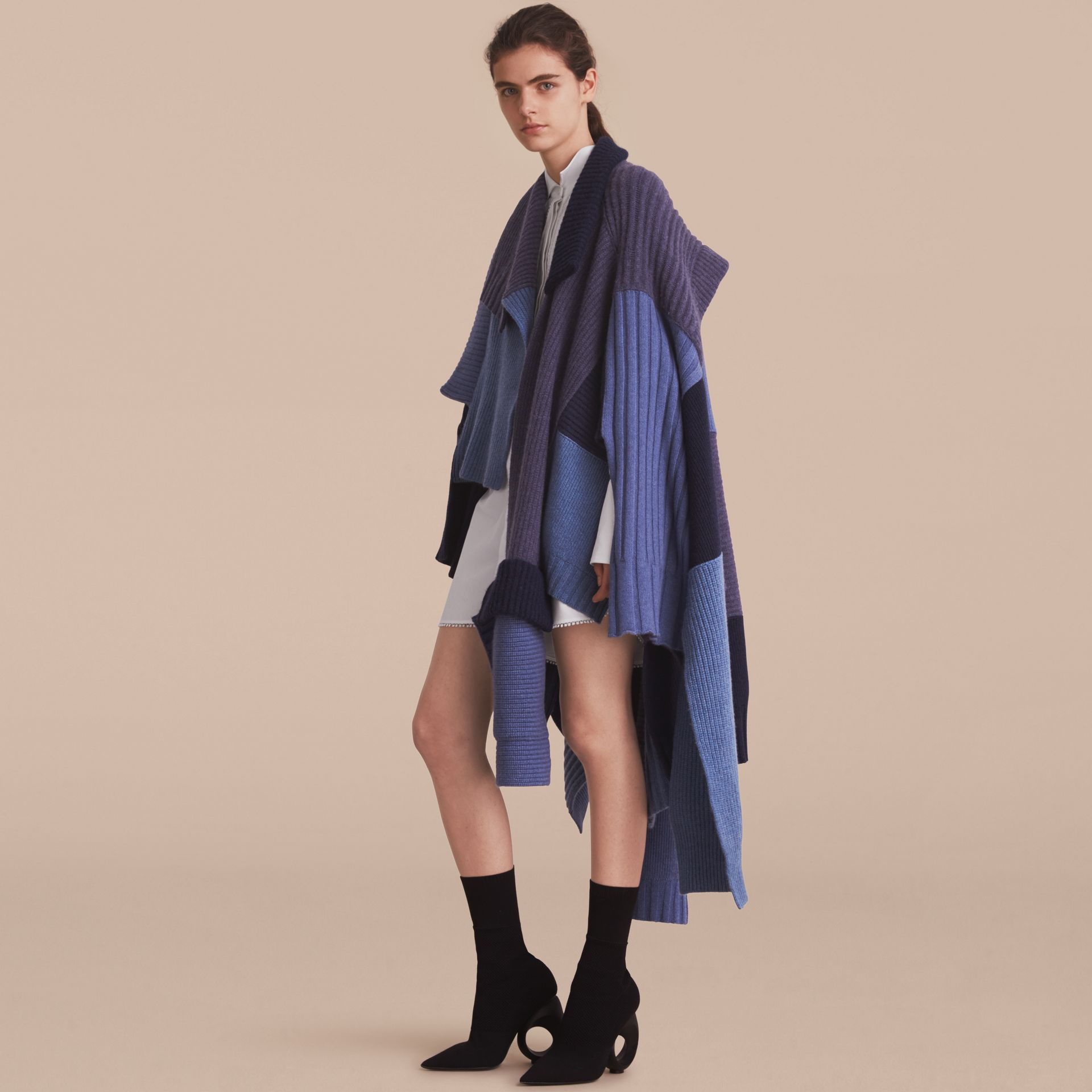Wool Cashmere Patchwork Poncho in Carbon Blue - Women | Burberry - gallery image 6