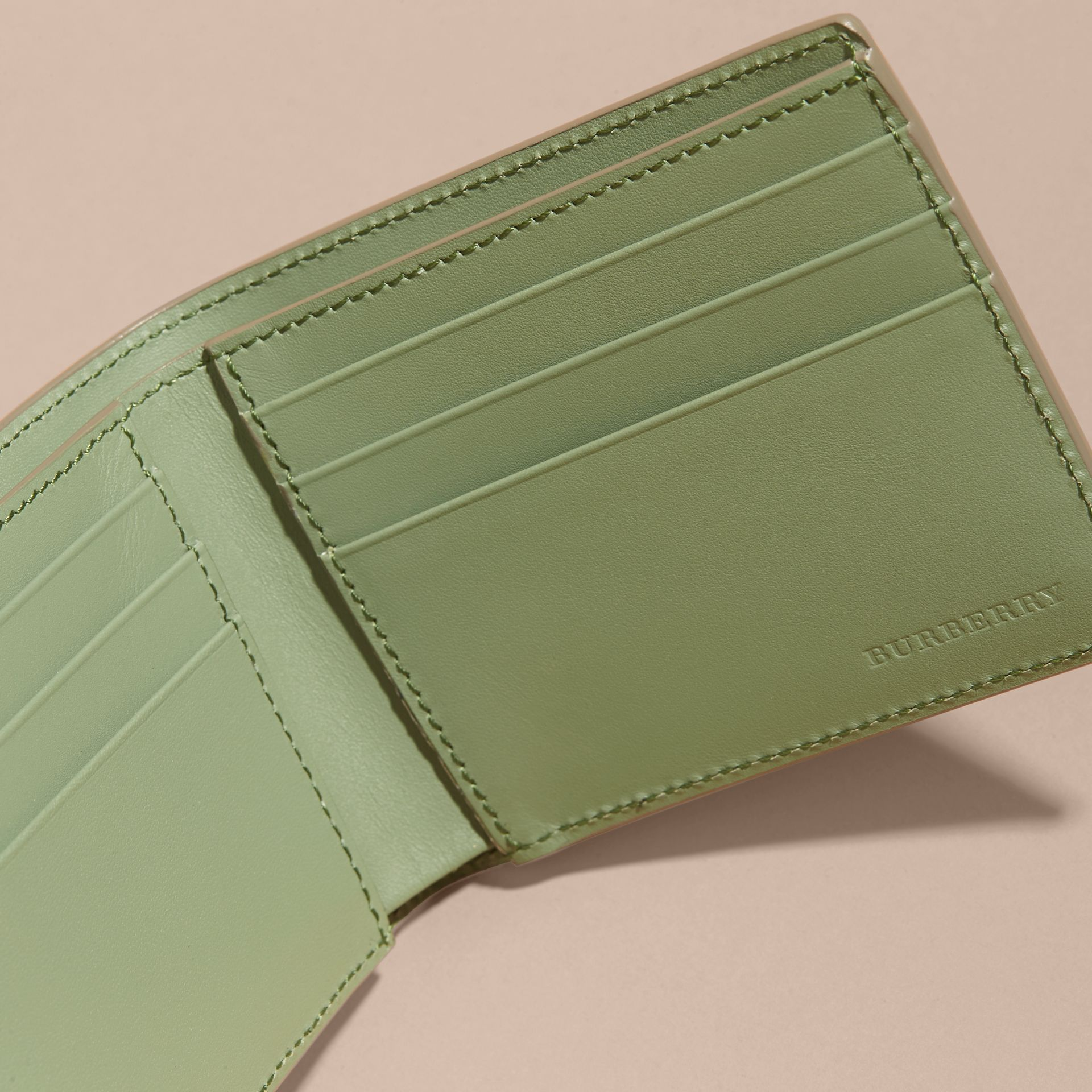London Leather Slim Folding Wallet Antique Green - gallery image 5
