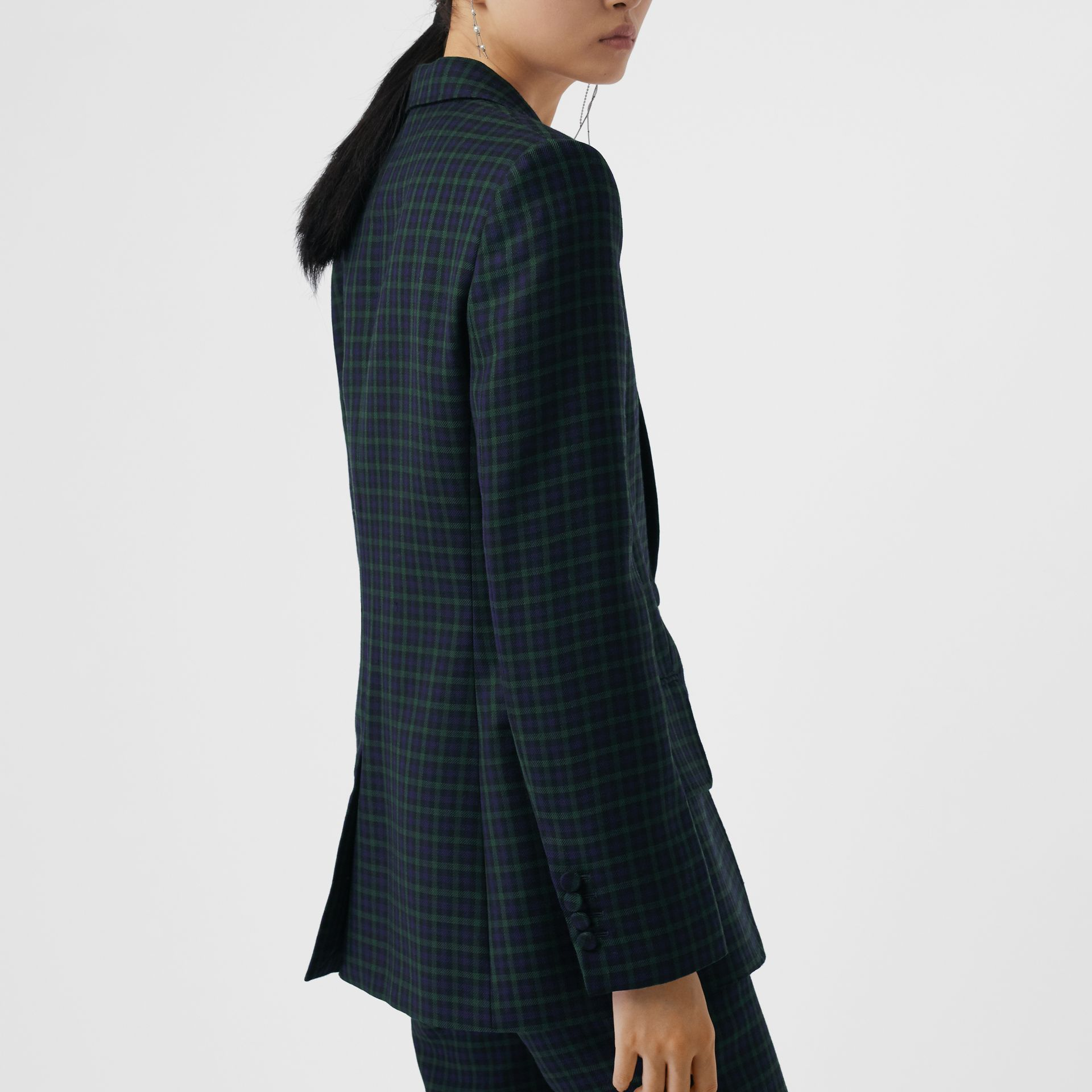 Check Stretch Wool Blazer in Navy - Women | Burberry - gallery image 2