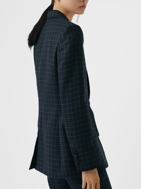 Check Stretch Wool Blazer in Navy - Women | Burberry United Kingdom - cell image 2
