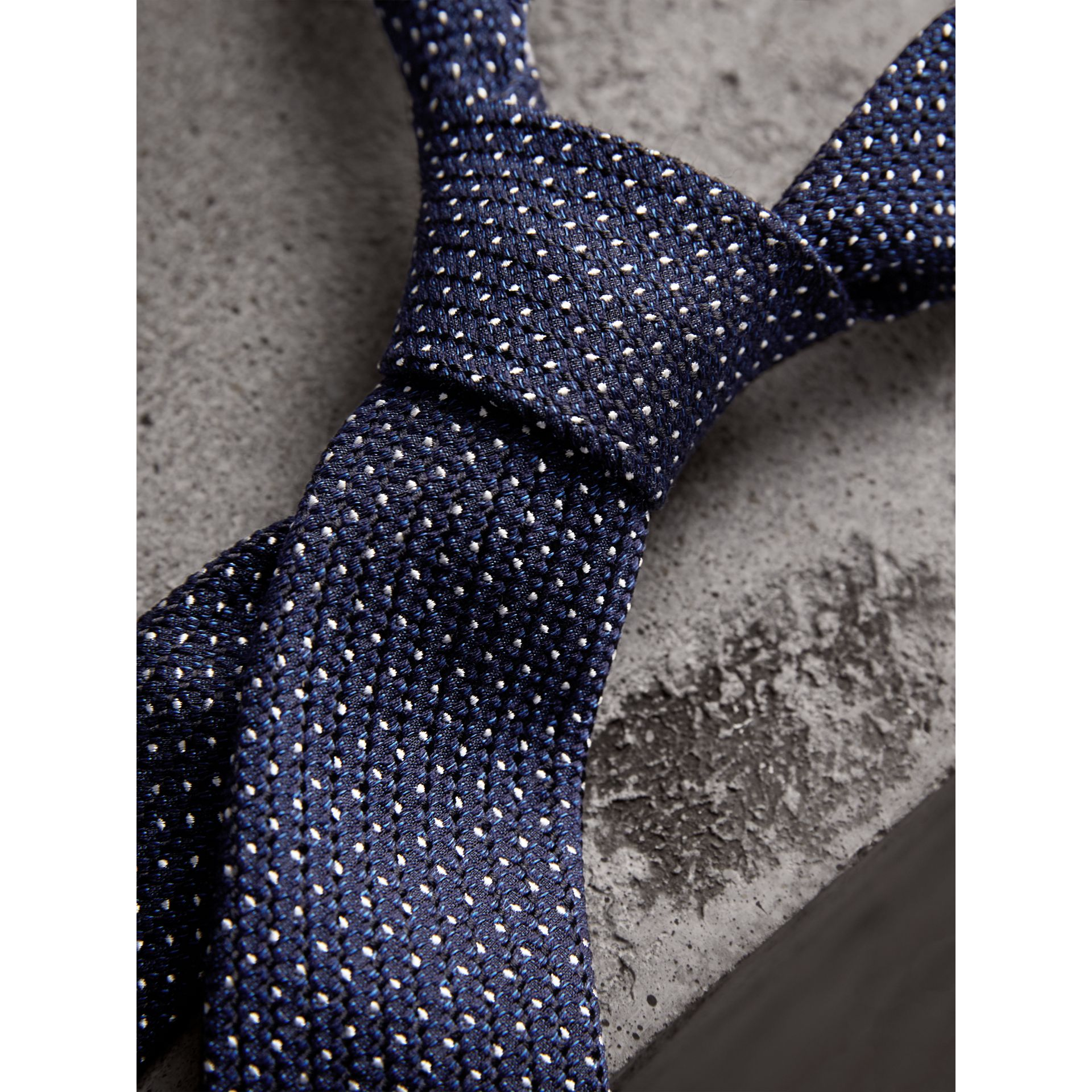 Slim Cut Pinpoint Wool Silk Tie in Steel Blue - Men | Burberry Australia - gallery image 2
