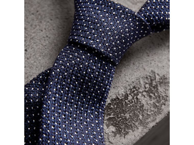 Slim Cut Pinpoint Wool Silk Tie in Steel Blue - Men | Burberry - cell image 1