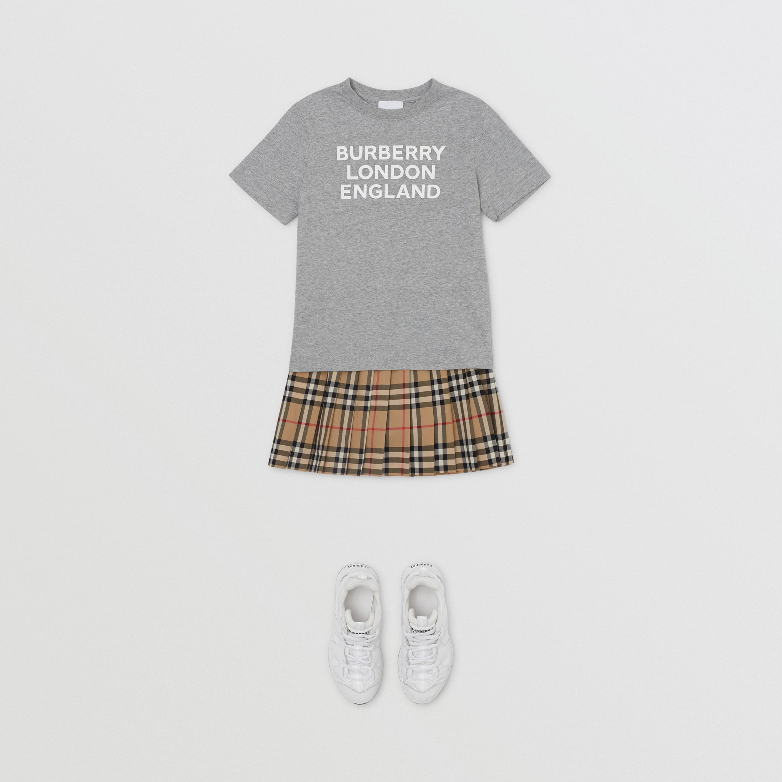 Logo Print Cotton T-shirt in Grey Melange | Burberry - 3