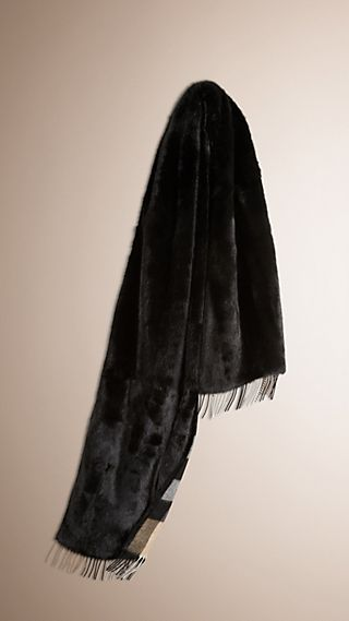 Check-lined Mink Fur Stole