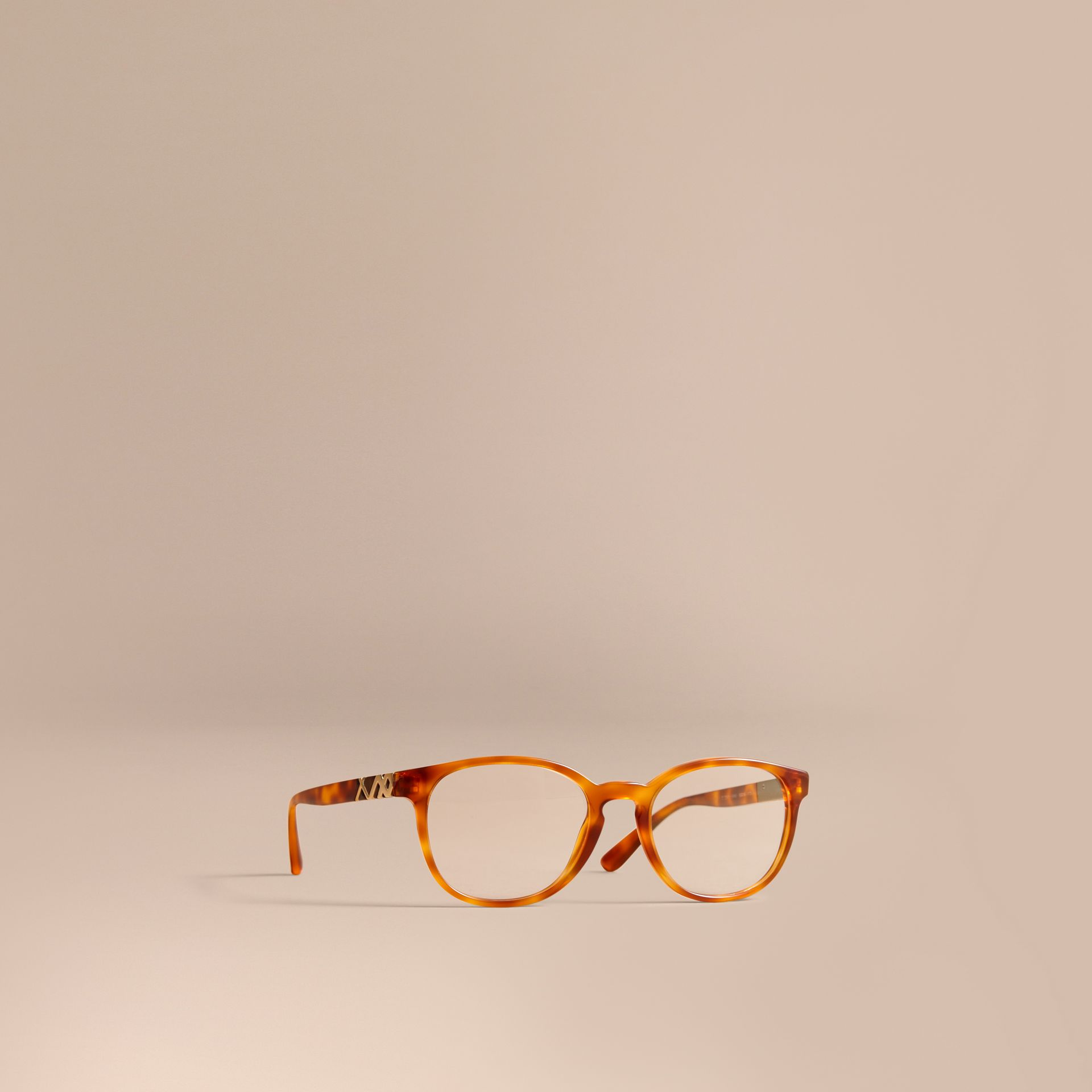 Check Detail Round Optical Frames Amber - gallery image 1