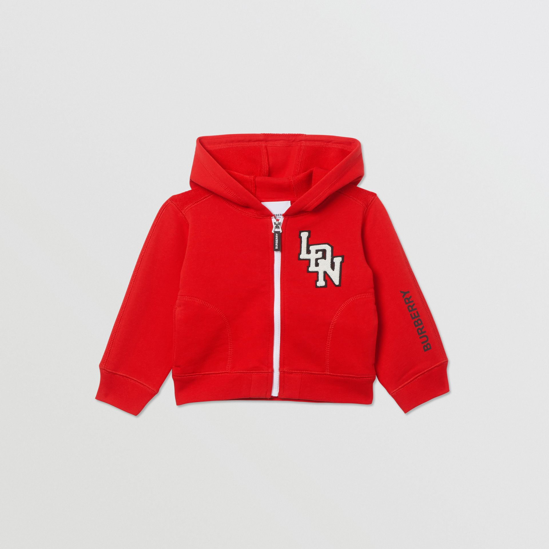 Logo Graphic Cotton Hooded Top in Bright Red - Children | Burberry United Kingdom - gallery image 0