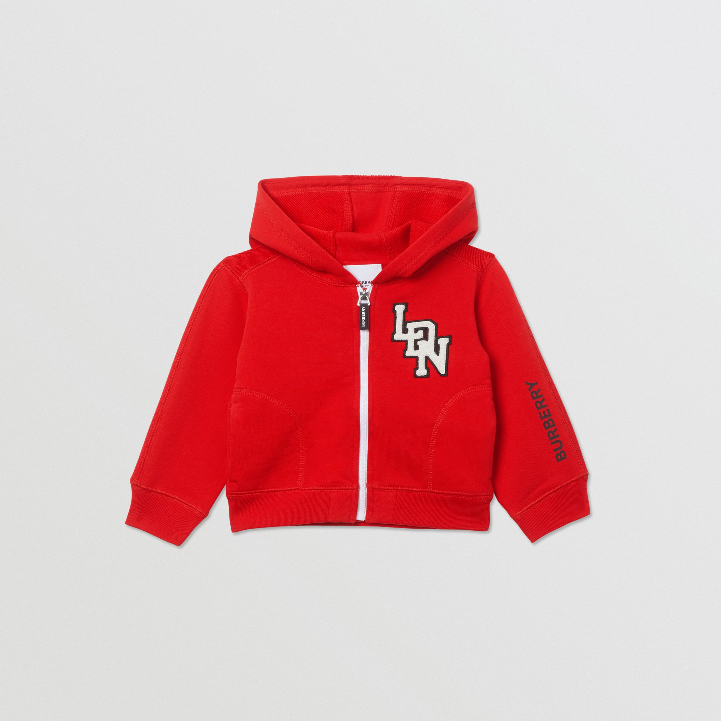Logo Graphic Cotton Hooded Top in Bright Red - Children | Burberry United States - 1