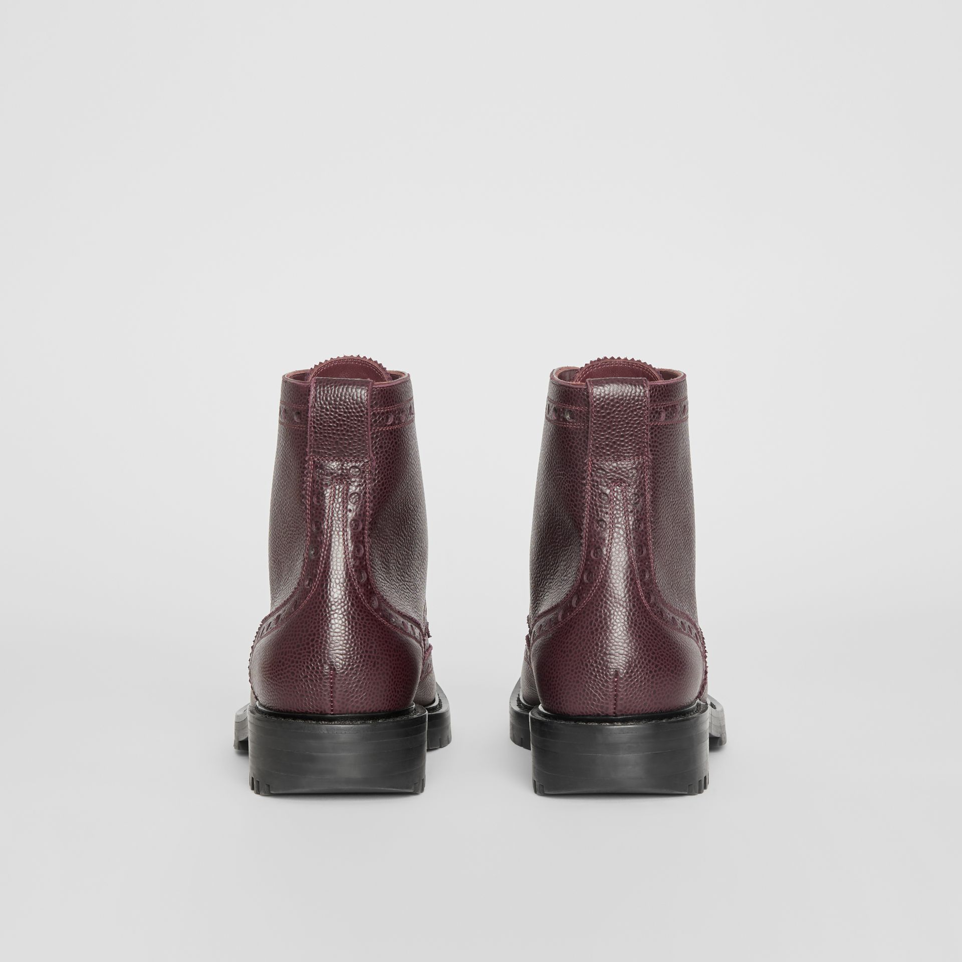 Brogue Detail Grainy Leather Boots in Bordeaux - Men | Burberry United States - gallery image 4