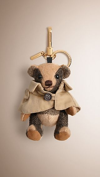 Bijou porte-clés Teddy-bear Mr Trench en cachemire à motif check