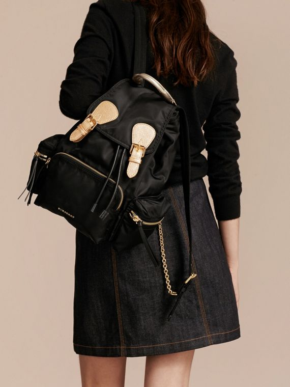 The Medium Rucksack in Two-tone Nylon and Leather Black/gold - cell image 2