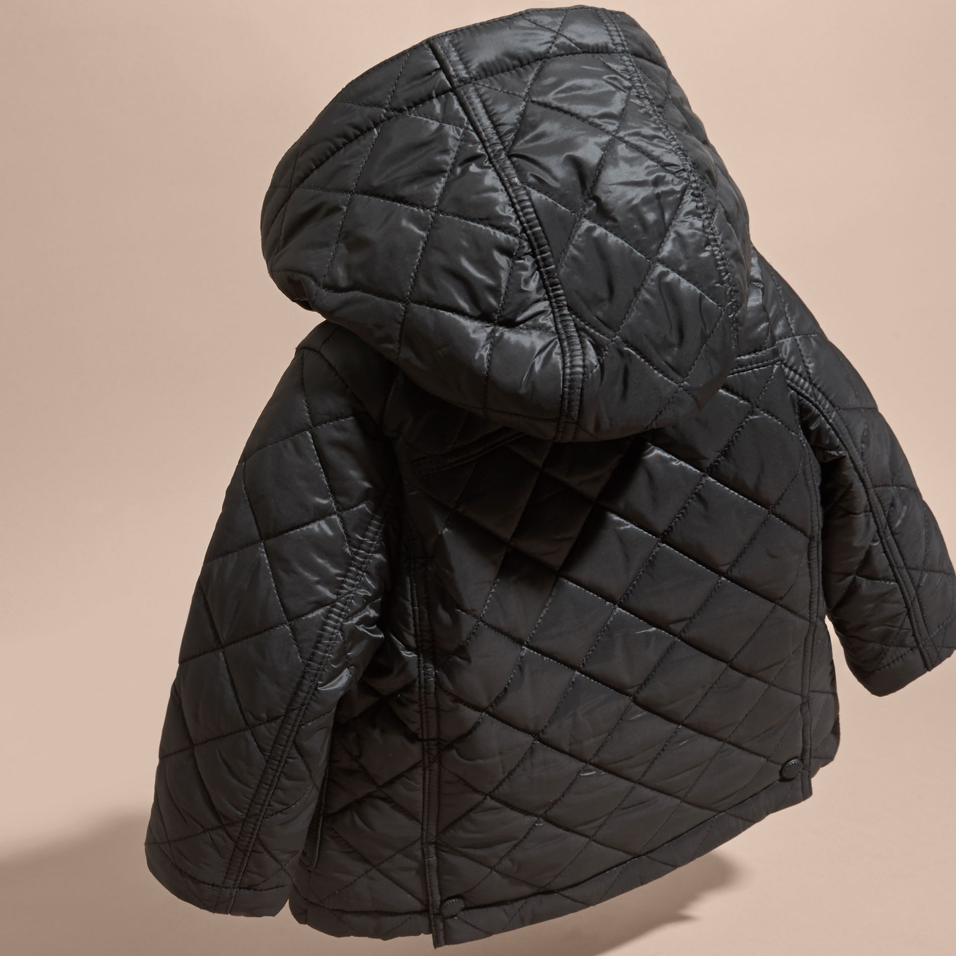 Black Check Detail Diamond-quilted Jacket Black - gallery image 4