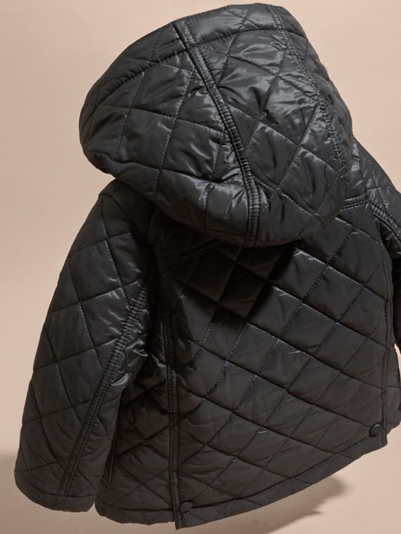Black Check Detail Diamond-quilted Jacket Black - cell image 3