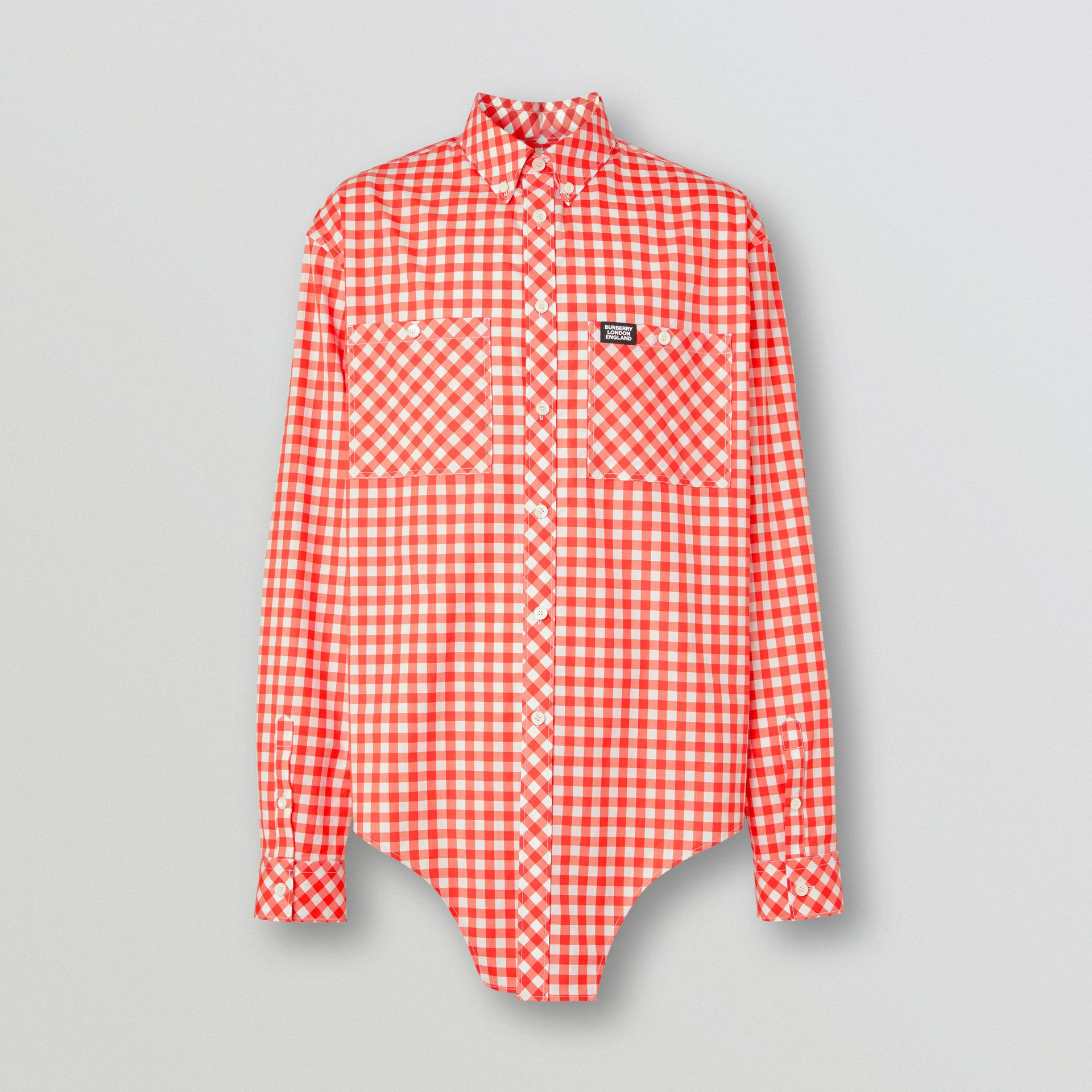Cut-out Hem Gingham Cotton Oversized Shirt in Red | Burberry - gallery image 3