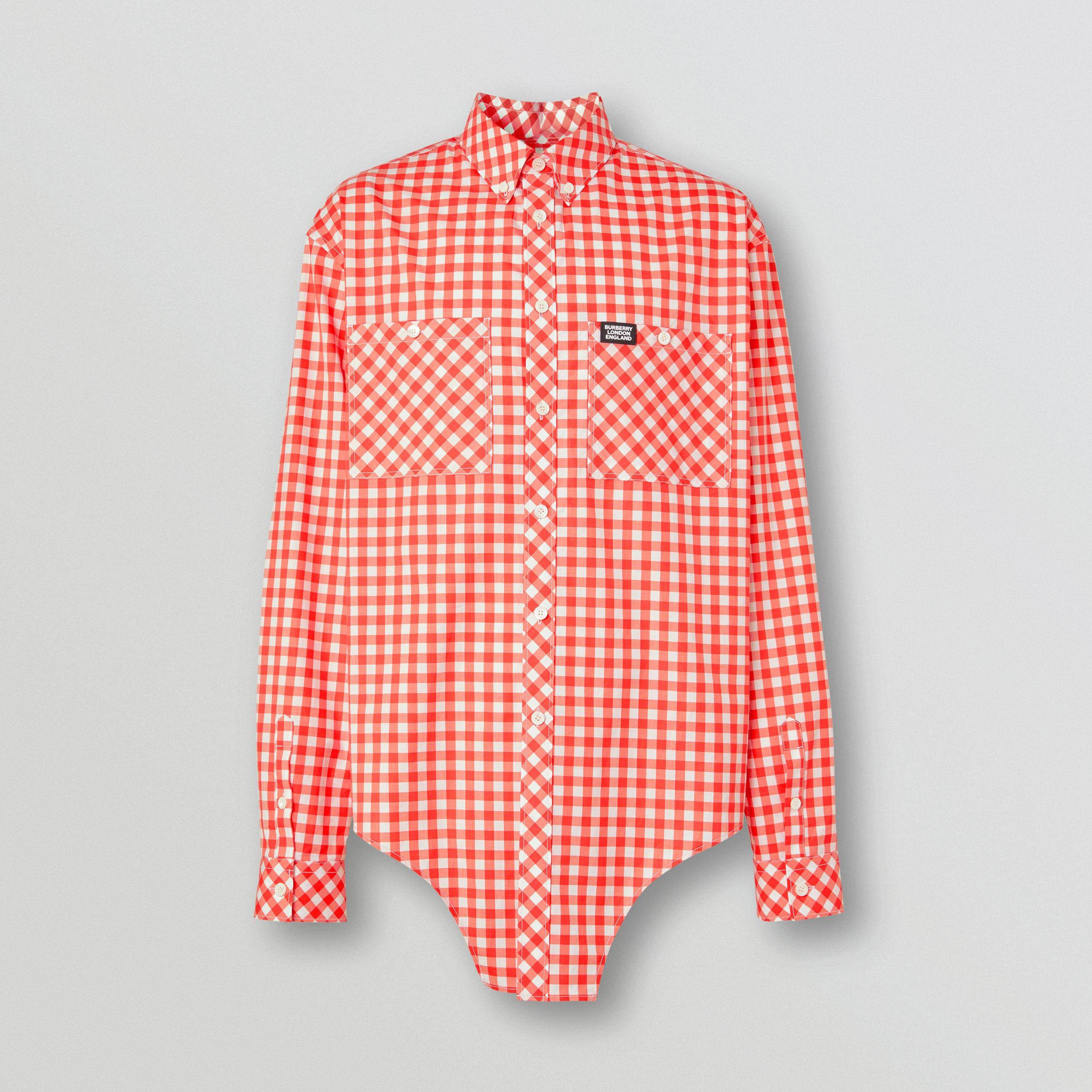 Cut-out Hem Gingham Cotton Oversized Shirt in Red - Men | Burberry United Kingdom - 4