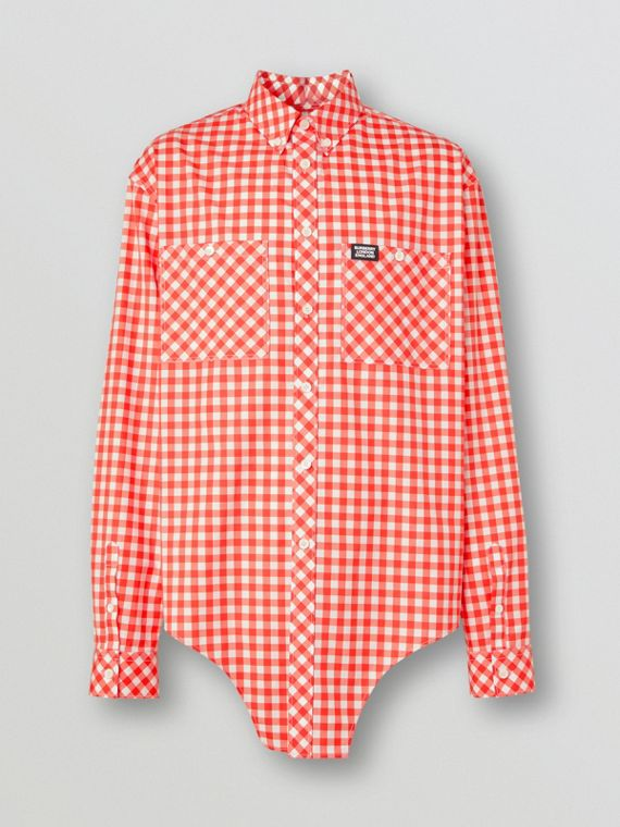 Cut-out Hem Gingham Cotton Oversized Shirt in Red