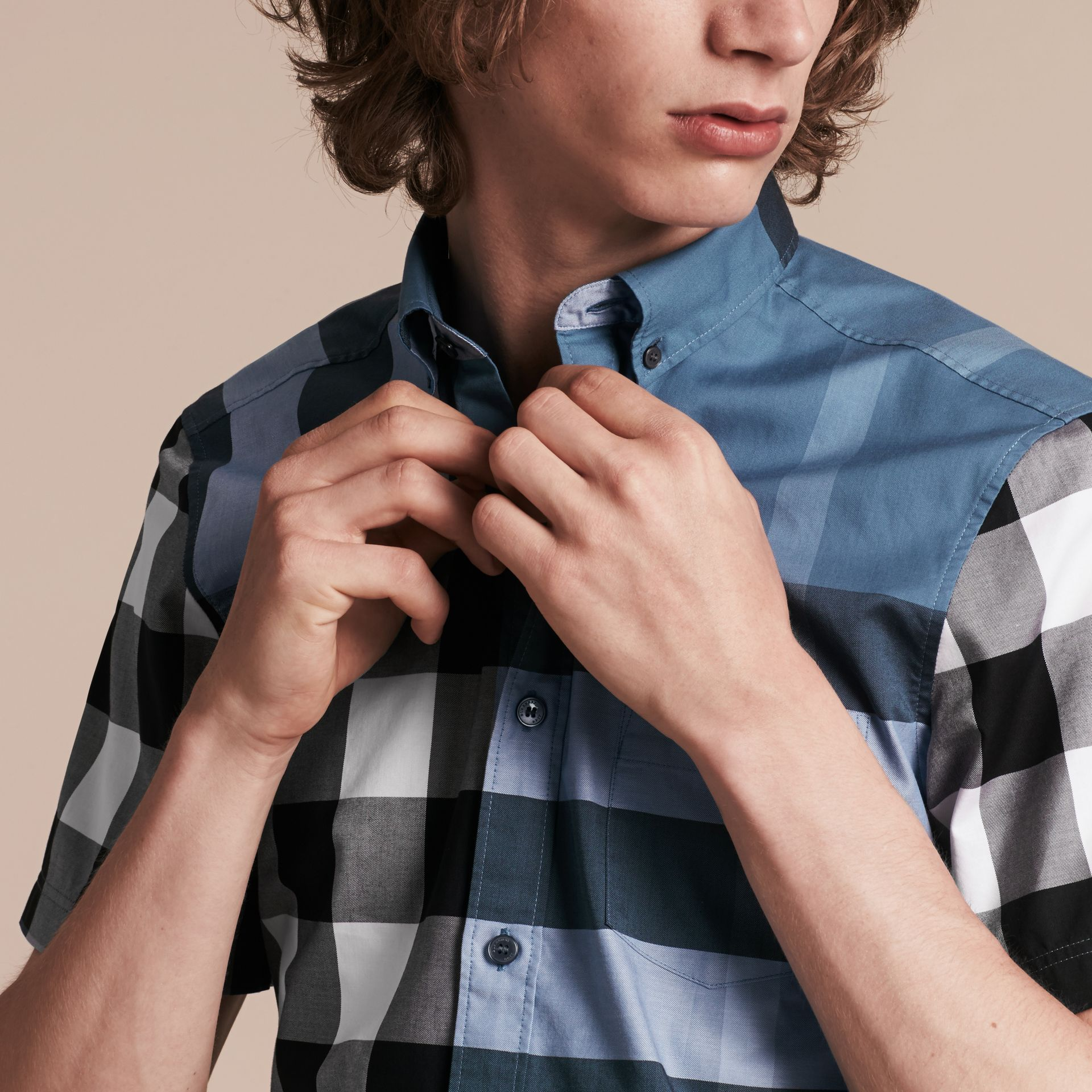 Lupin blue Short-sleeved Check Cotton Shirt Lupin Blue - gallery image 4