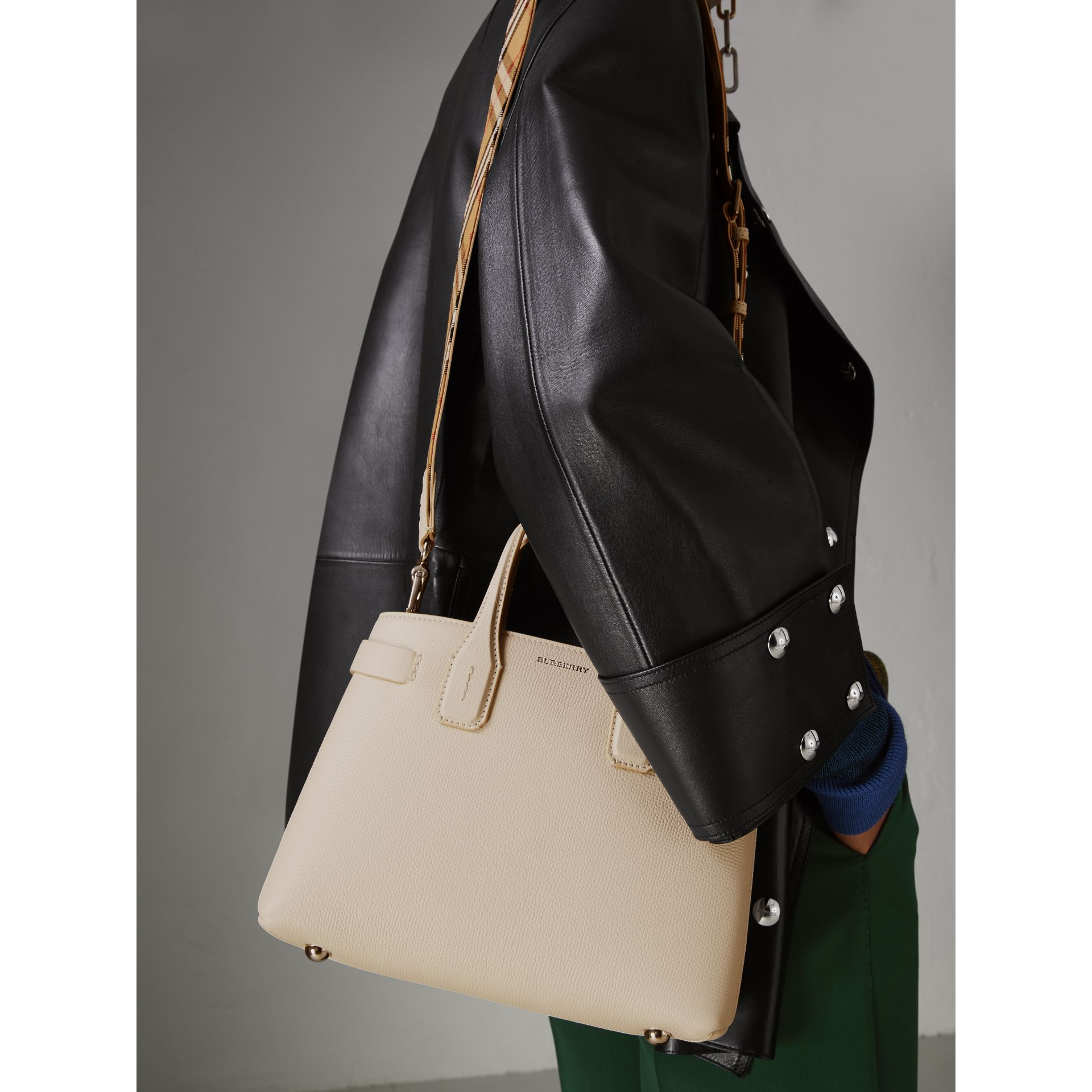 The Small Banner in Leather and Vintage Check in Limestone - Women | Burberry - gallery image 3