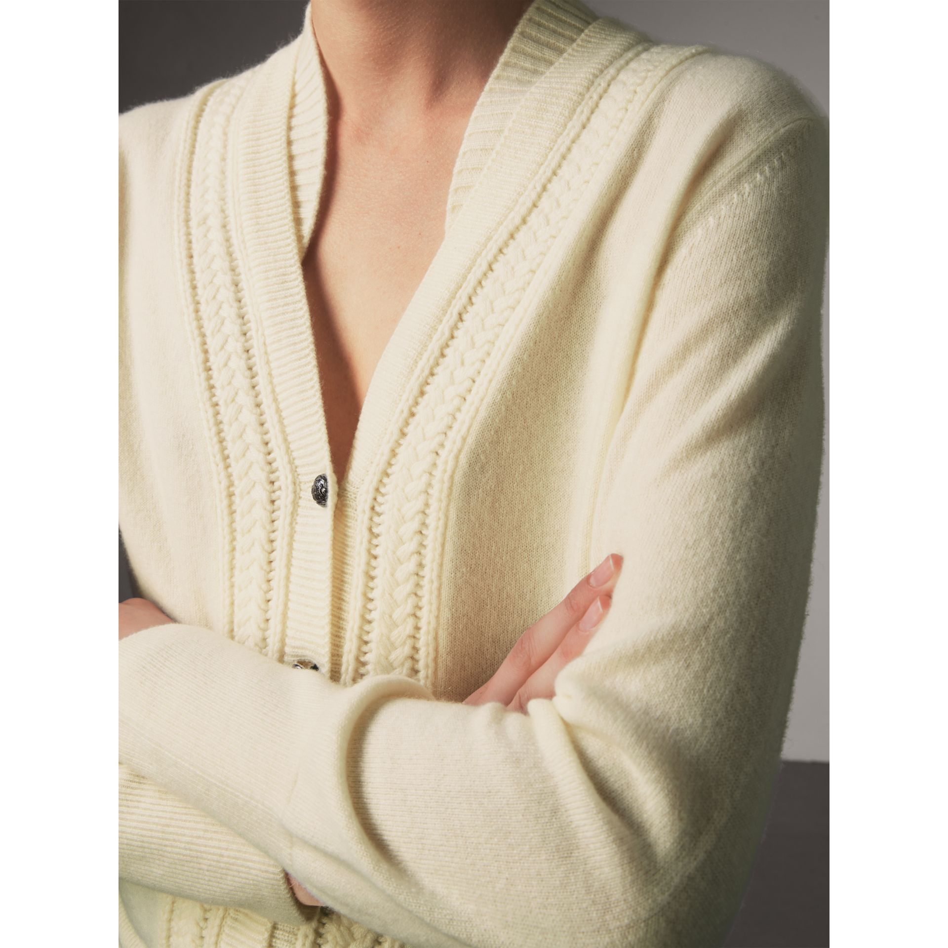 Cable Knit Detail Cashmere Cardigan in Natural White - Women | Burberry - gallery image 2