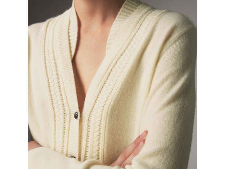 Cable Knit Detail Cashmere Cardigan in Natural White - Women | Burberry - cell image 1