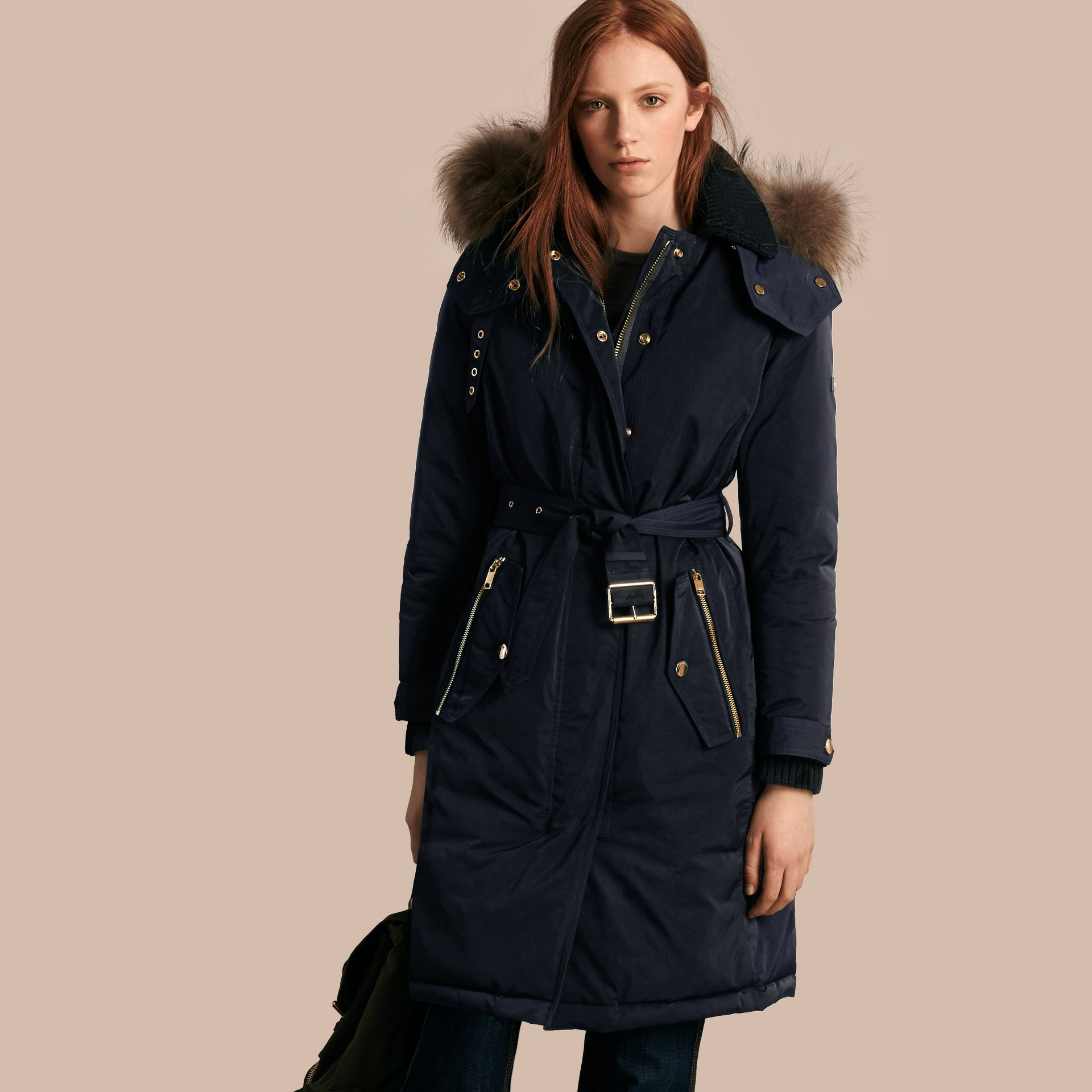 Navy Down-filled Parka Coat with Detachable Fur Trim Navy - gallery image 1
